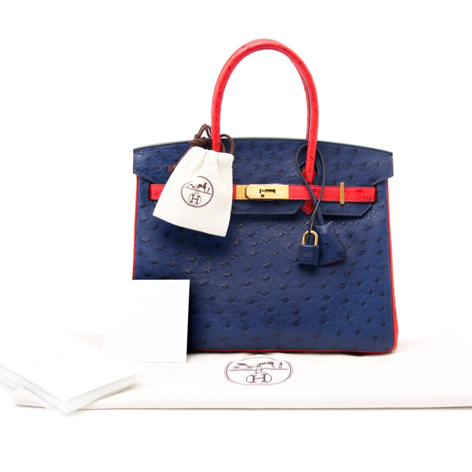 real real designer luxury as new Rare Brand New Hermes Birkin 30 Ostrich Rouge Exotique And Blue Sapphire