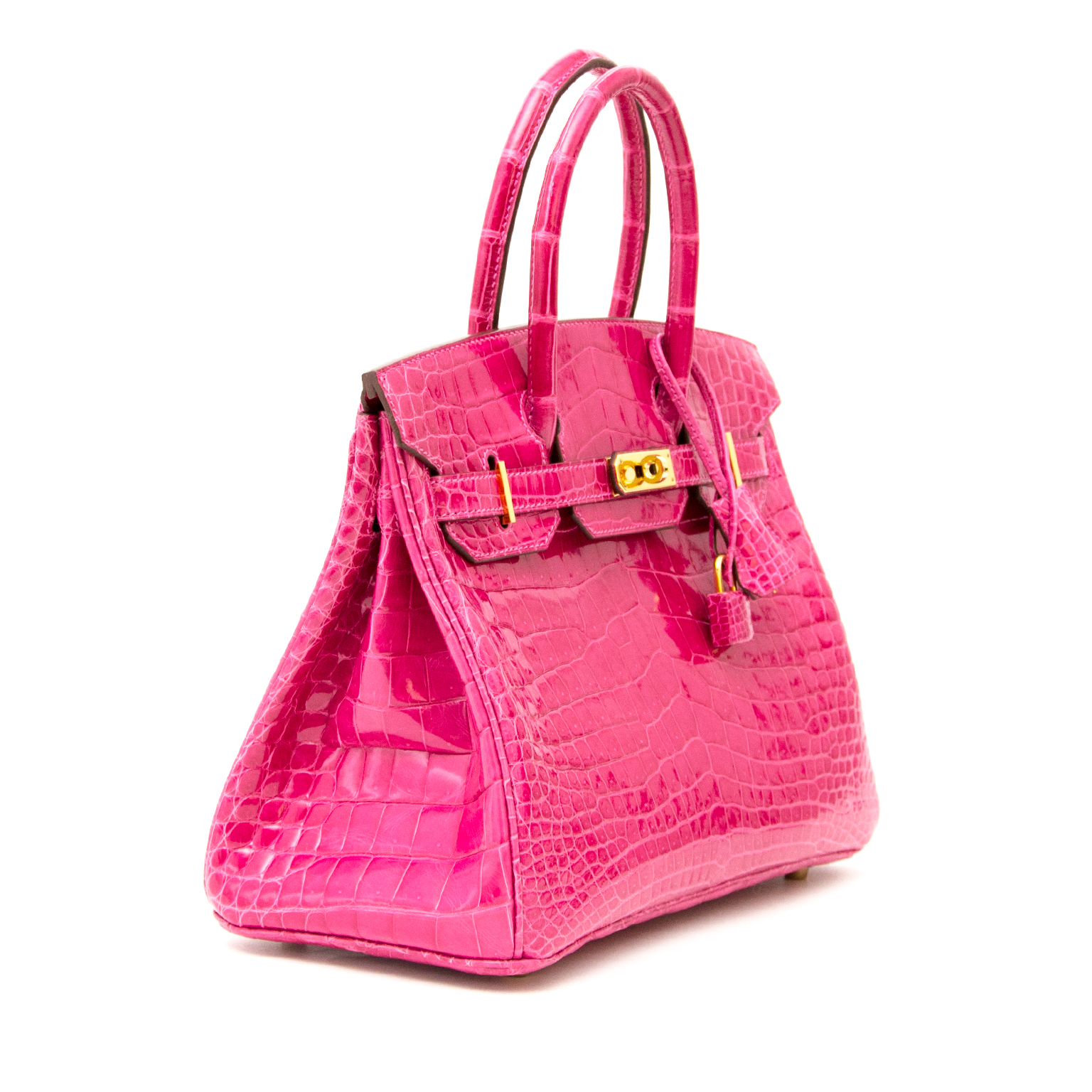 Skip the waiting list and get your hands on this extremely rare Hermès Birkin 30 Rose Scheherazade Croco Lisse GHW