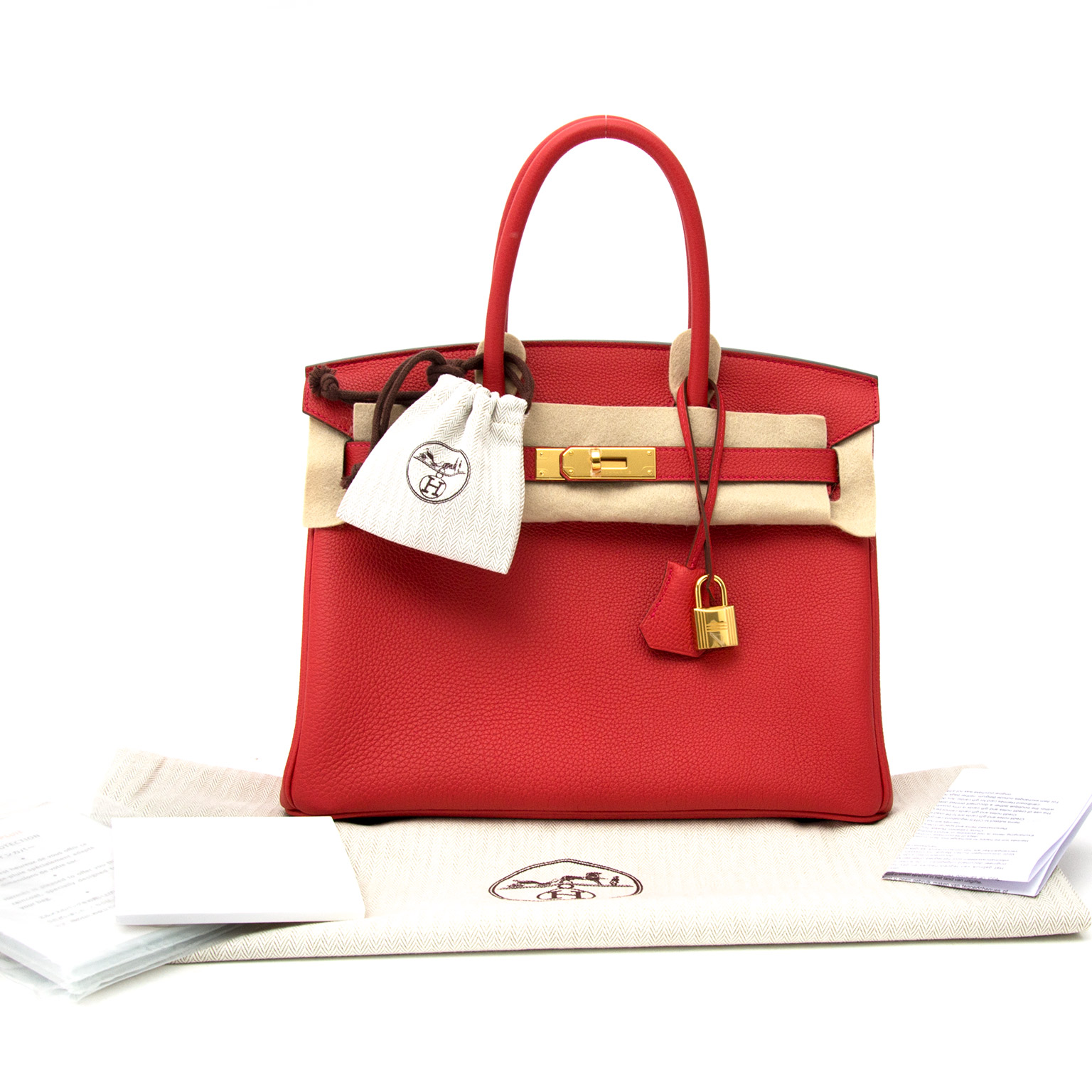 We buy and sell your Hermès Birkin 30 Togo Geranium GHW for the best prices of 2017