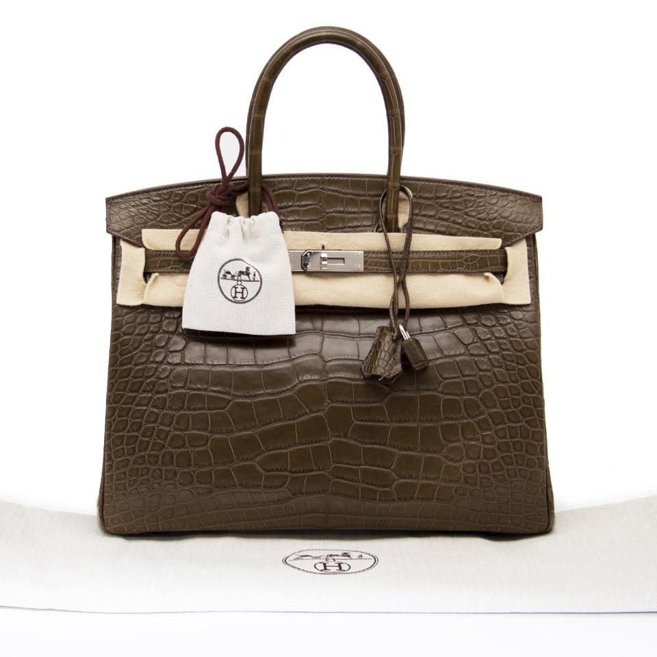 acheter en ligne seconde main sac a main comme neuf Hermes Birkin 35 Alligator Crocodile Matte Gris Elephant