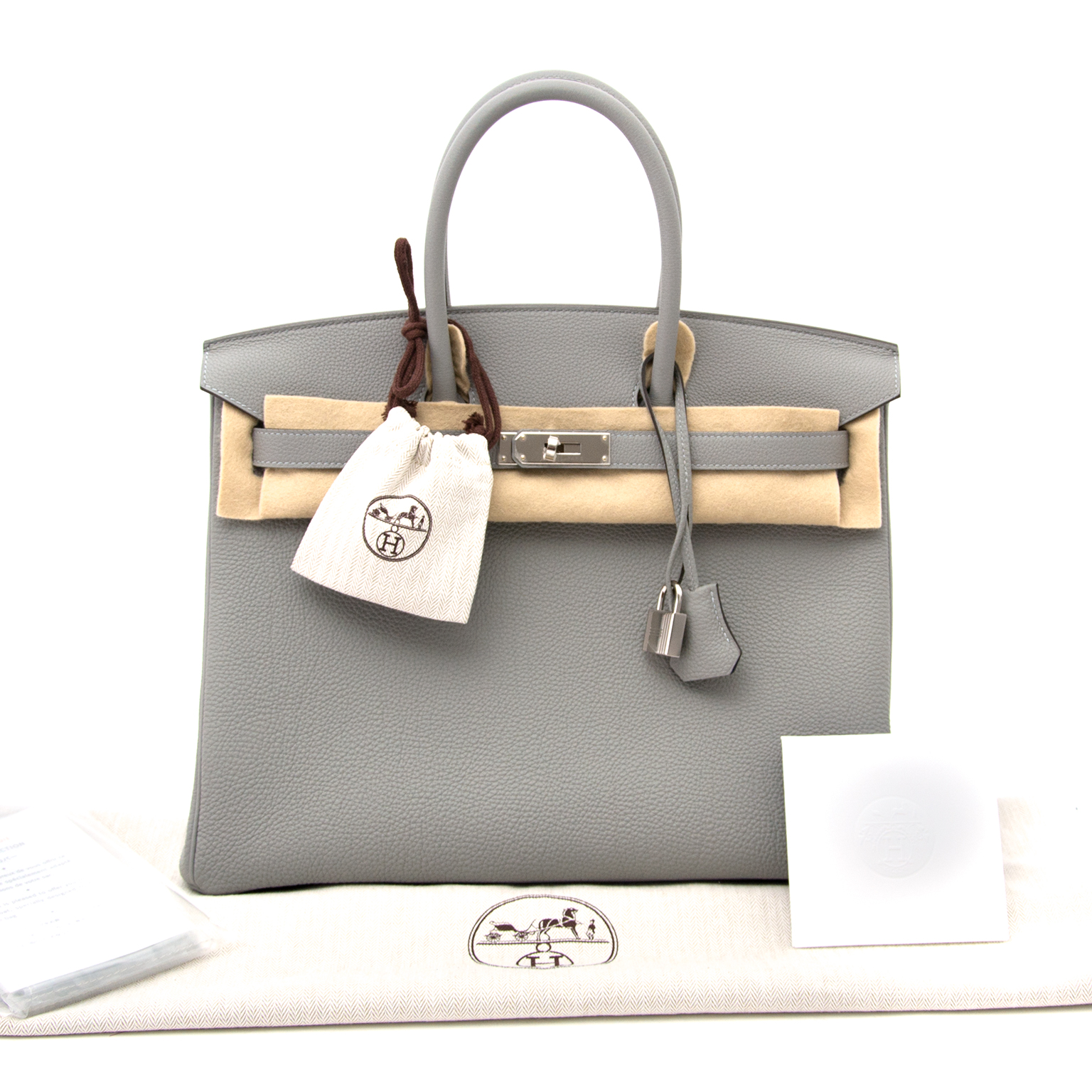 koop veilig online aan de beste prijs Brand New Hermes Birkin 35cm Bicolor Gris Mouette Togo And Blue Agathe