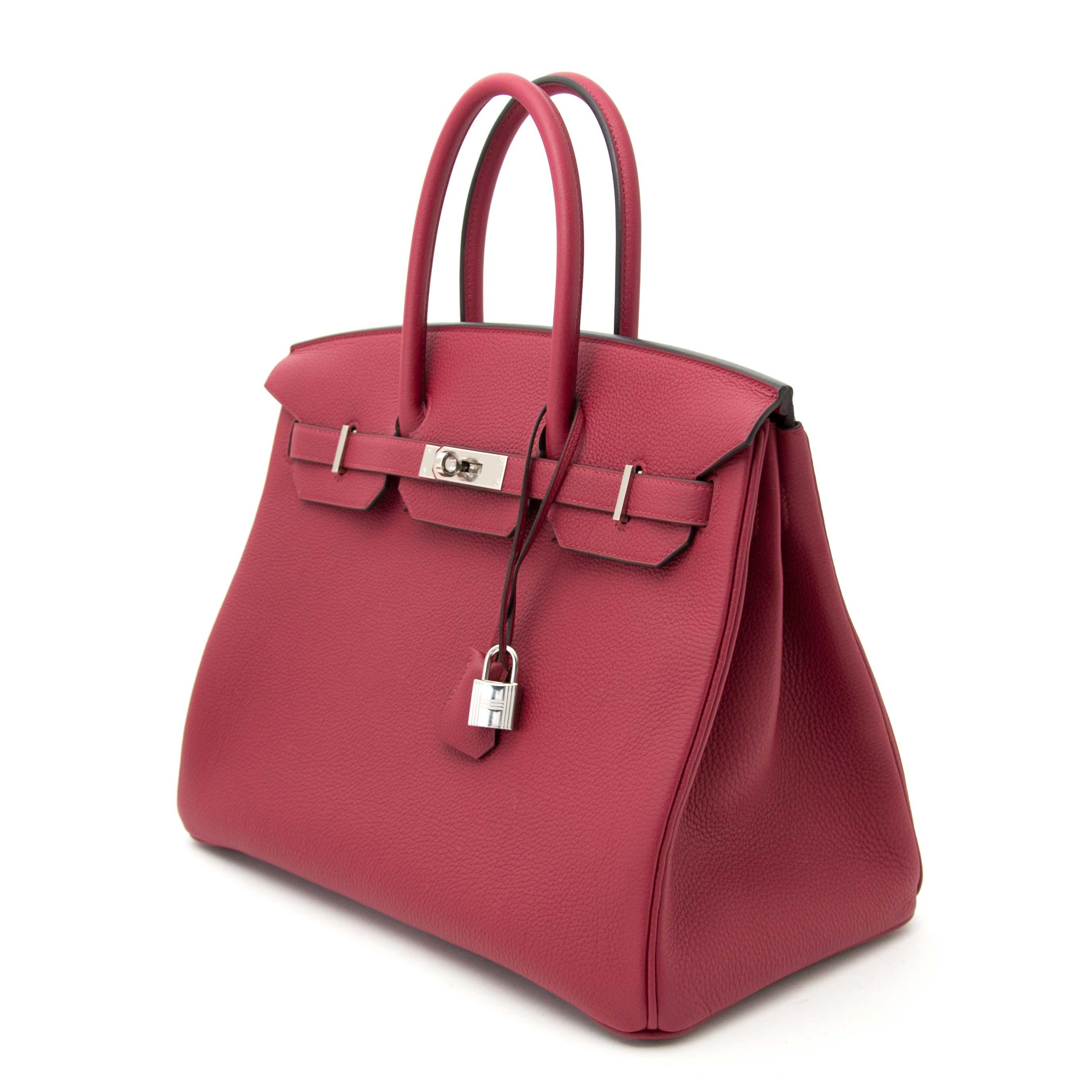 Koop en verkoop uw authentieke Never Used Hermès Birkin 35 Togo Rouge Grenat PHW aan de beste prijs