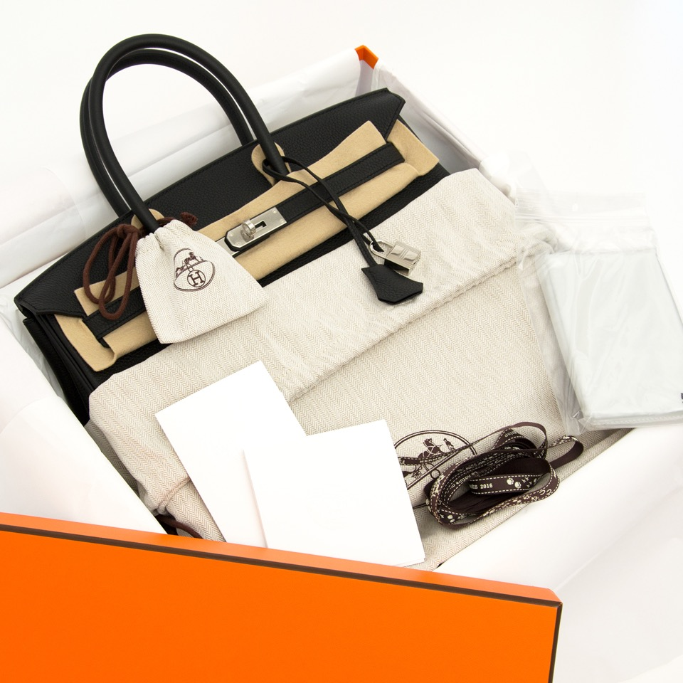 shop your luxury secondhand designer bag at the best price Hermes Birkin Black Togo 35 PHW
