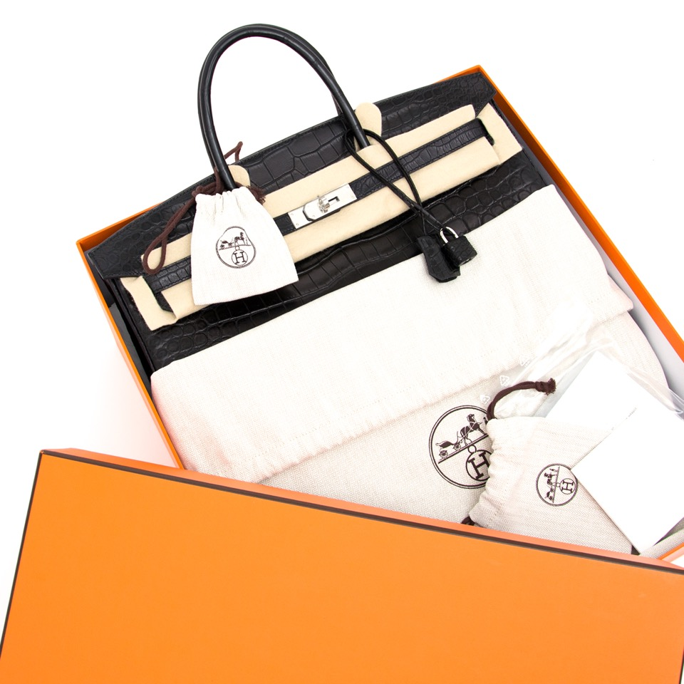 shop safe online your designer Hermes Birkin Black Matte Crocodile Porosus like new online webshop labellov.com