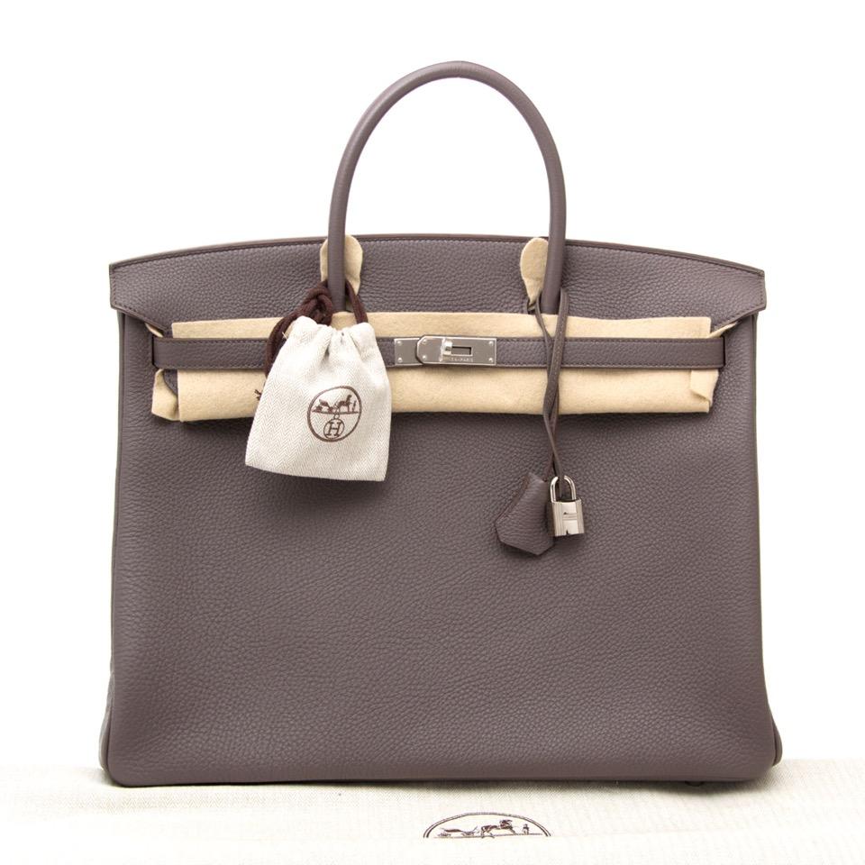 acheter en ligne comme neuf sac a main Brand New Hermes Birkin 40 Etaine Togo PHW