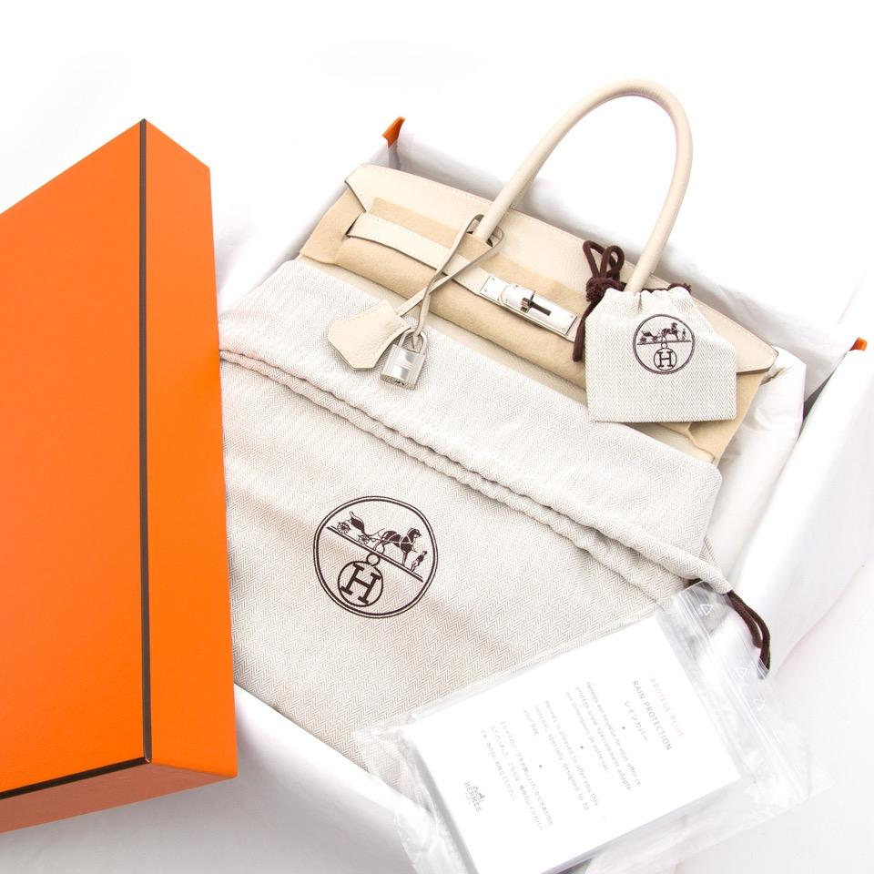 koop veilig online Hermes Birkin beige maat 30 cm zilver bij e shop LabellOV