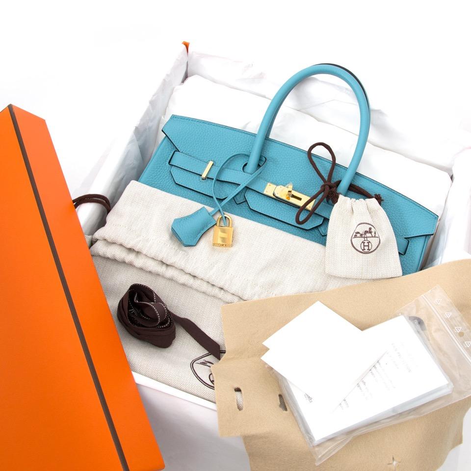 Labellov showroom in Antwerp: Hermes Birkin 35 Bleu Saint Cyr Torrion Clemence