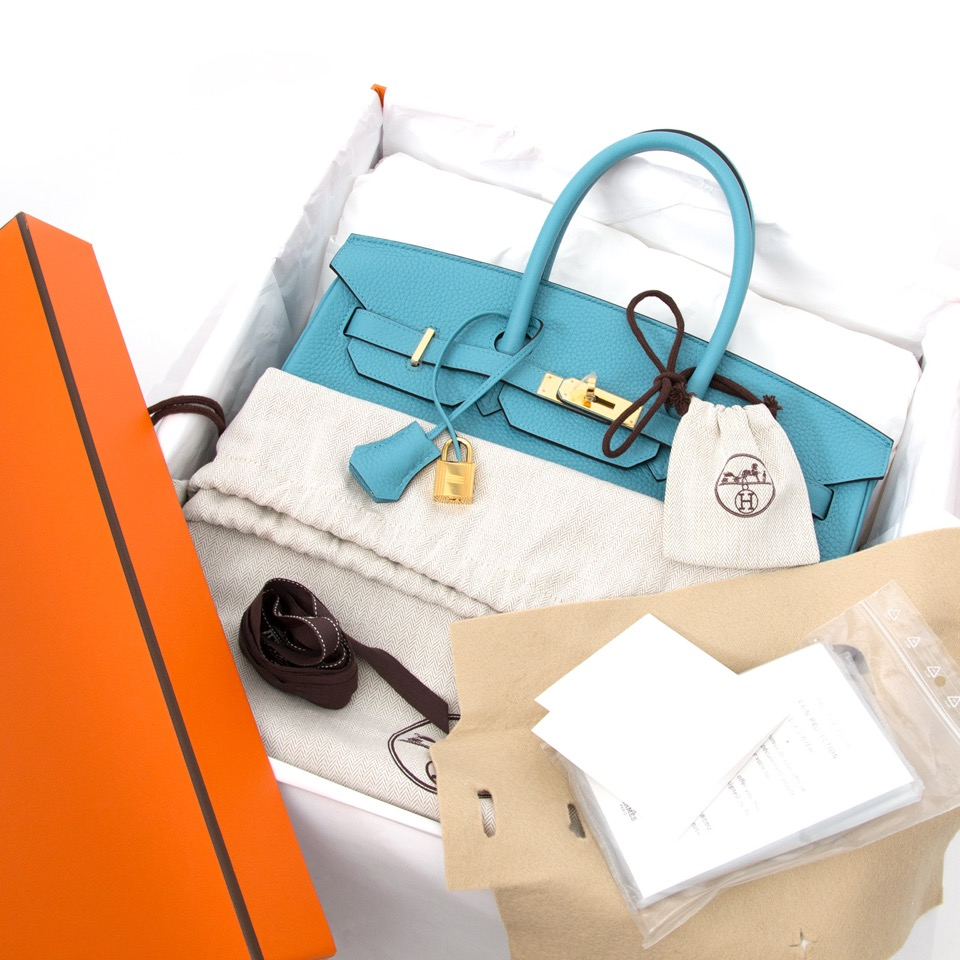 Labellov showroom in Antwerp: Hermes Birkin 35 Bleu Saint Cyr Torrion Clemence