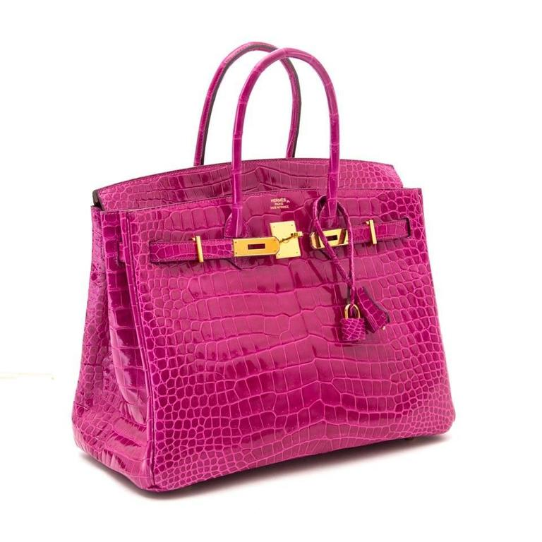 Rare Hermes Birkin 35 Porosus Lisse Rose Sheherazade online webshop 100% authentic luxury