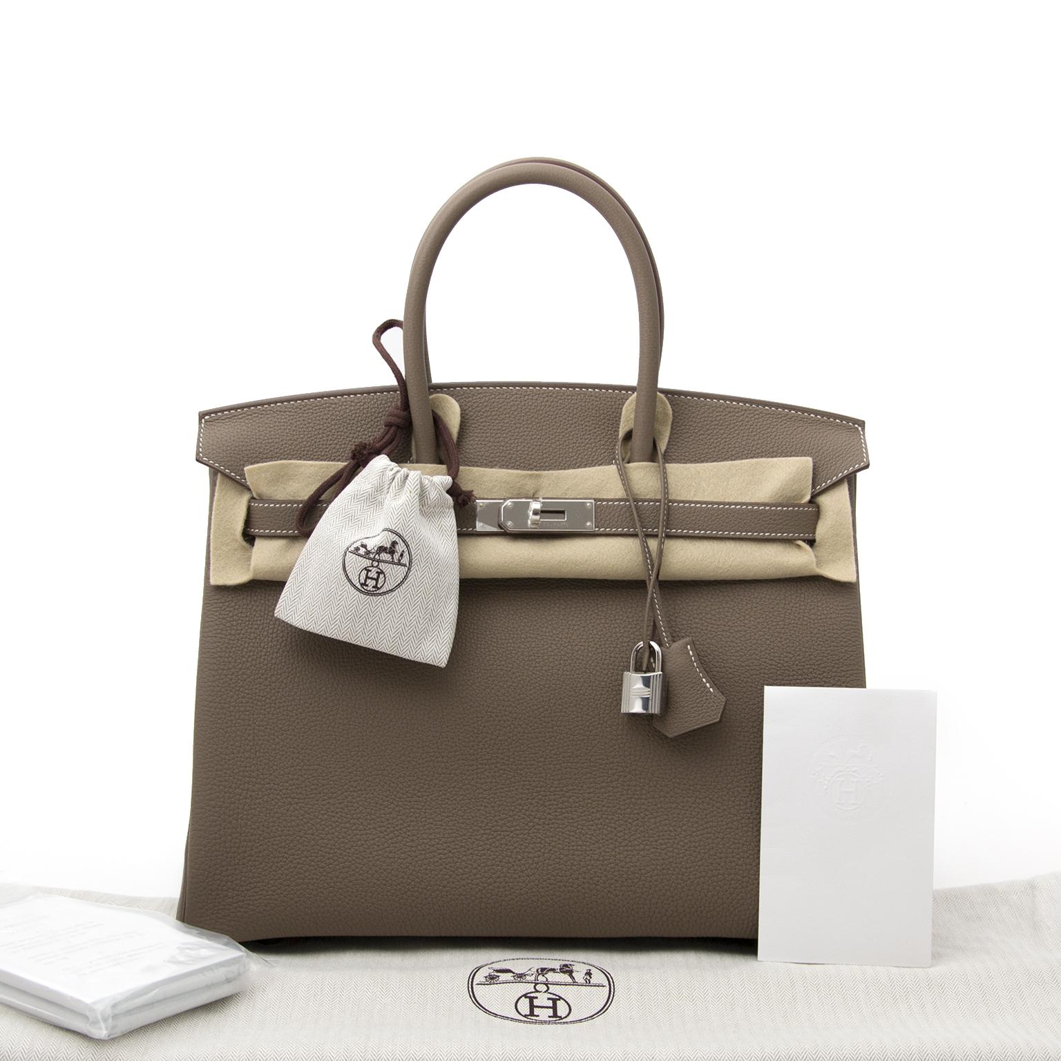 acheter enligne pour le meilleur prix neuf sac a main shop safe online at the best price secondhandBRAND NEW Hermes Birkin 35 etoupe PHW togo