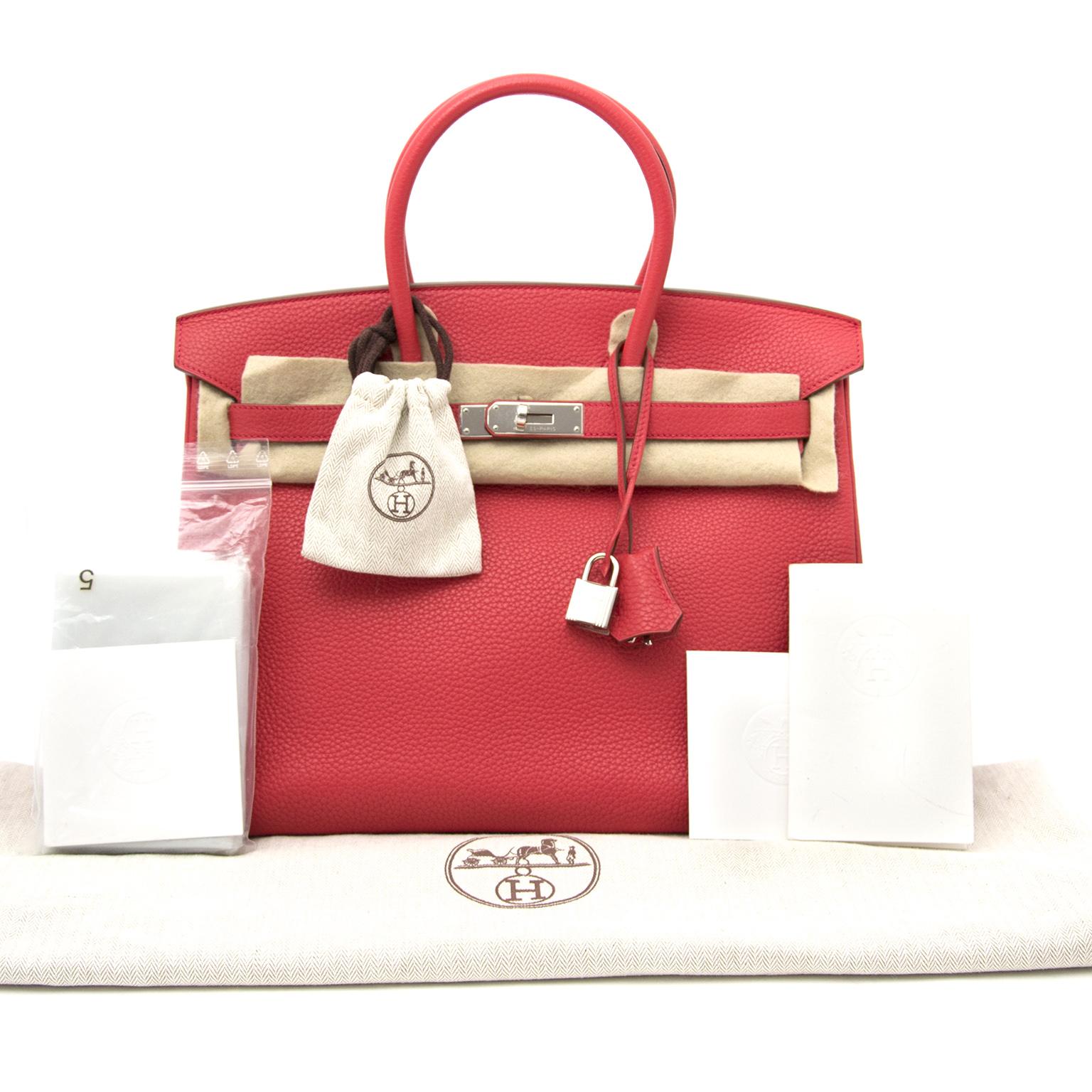 acheter en ligne pour le meilleur prix Brand New Hermes Birkin 35 Clemence Taurillon Bougainvillea