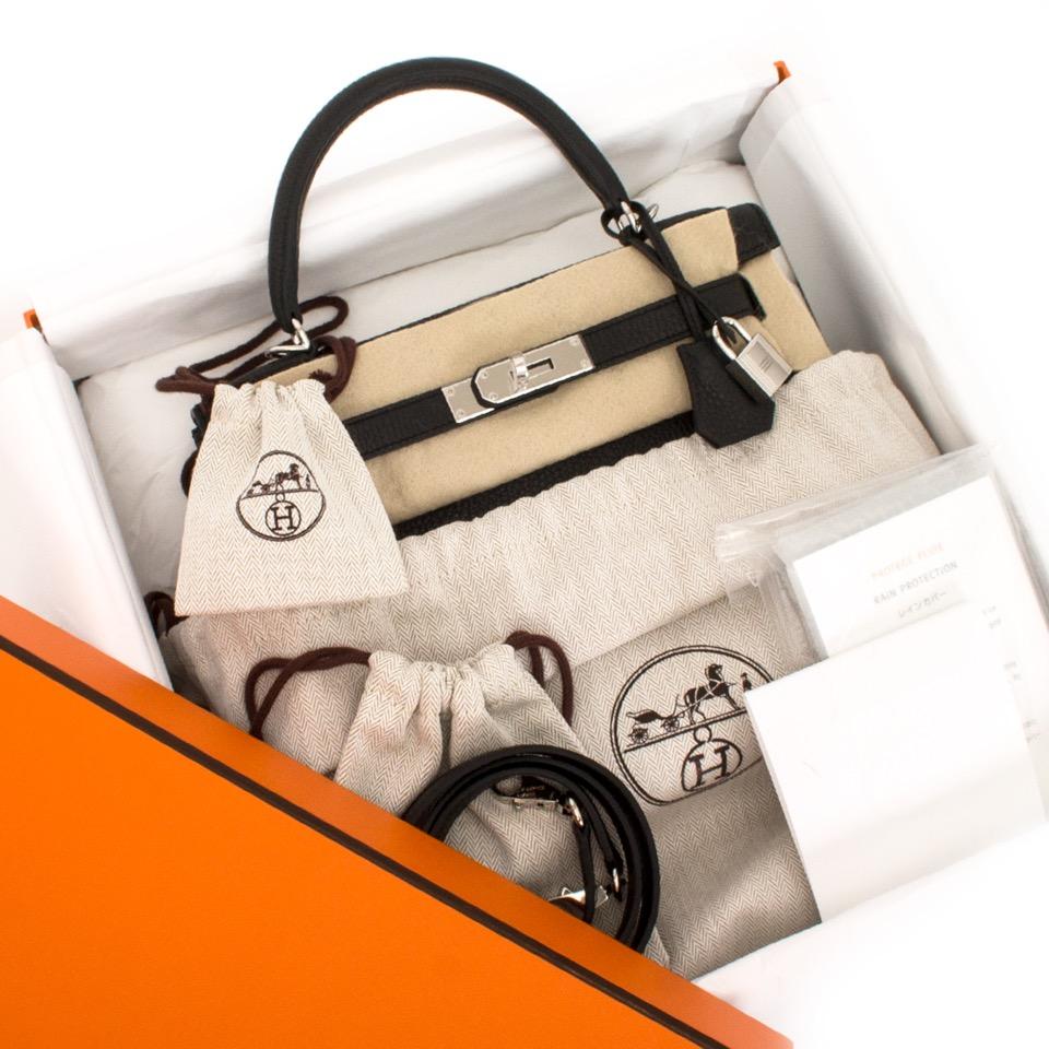 shop your designer luxury Brand New Black Hermes Kelly Retourne 28  Clemence Taurillon pour le meilleur prix