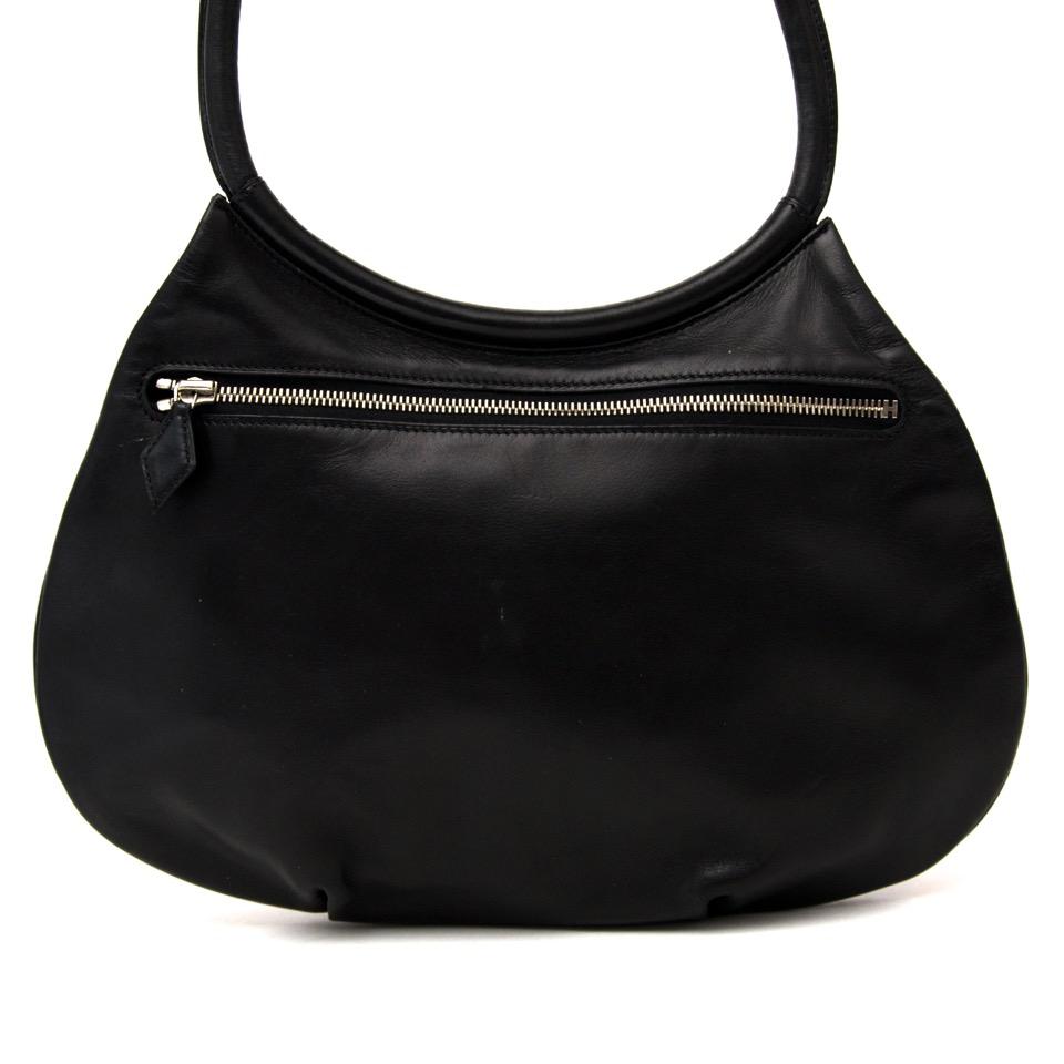 96e3450fa00a ... Hermès Black Cacahuete Plum Leather Oval koop veilig online aan de  beste prijs tweedehands net als nieuw online webshop labellov.com