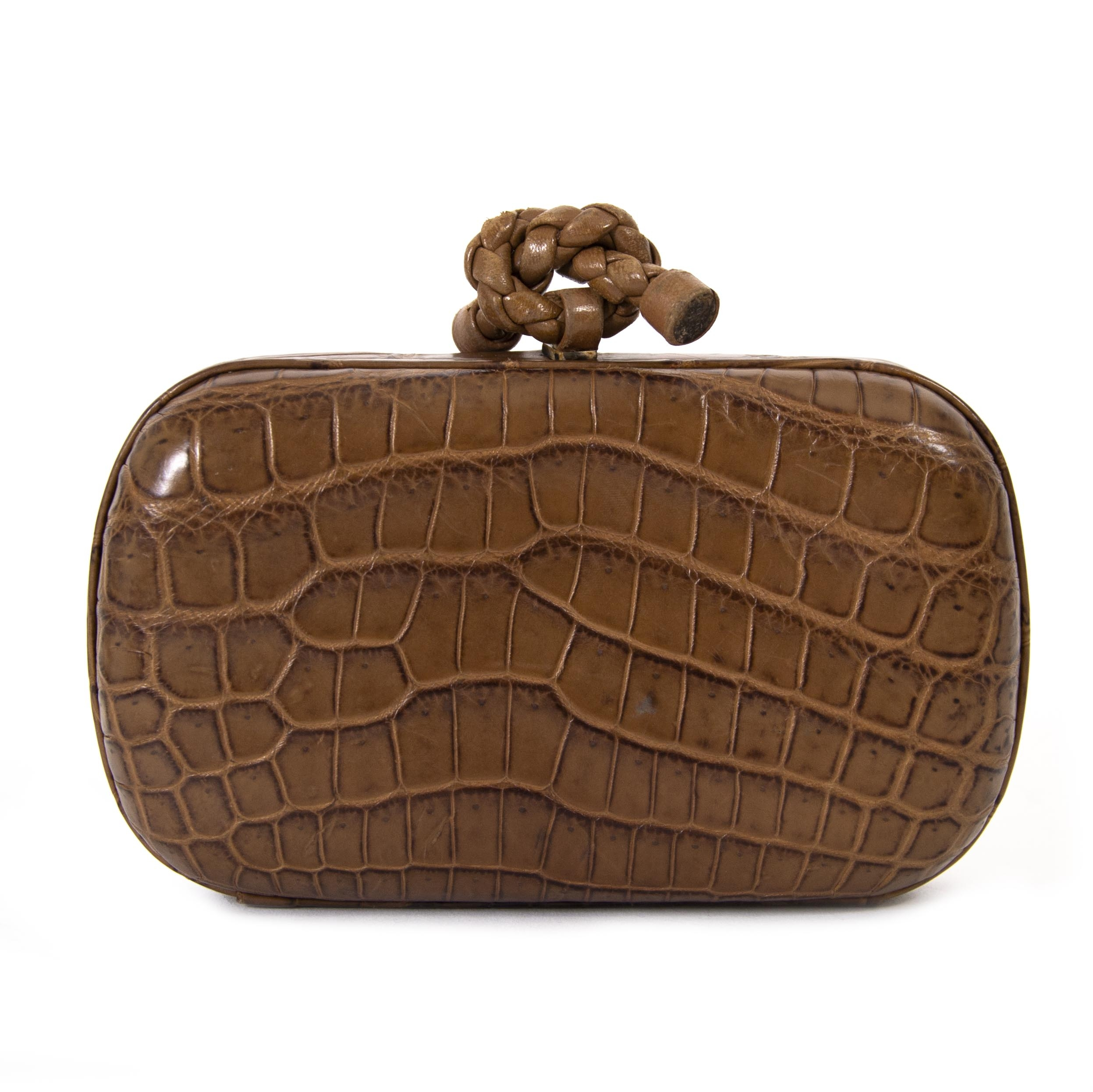Bottega Veneta Crocodile Knot Clutch now for sale at labellov vintage fashion webshop belgium