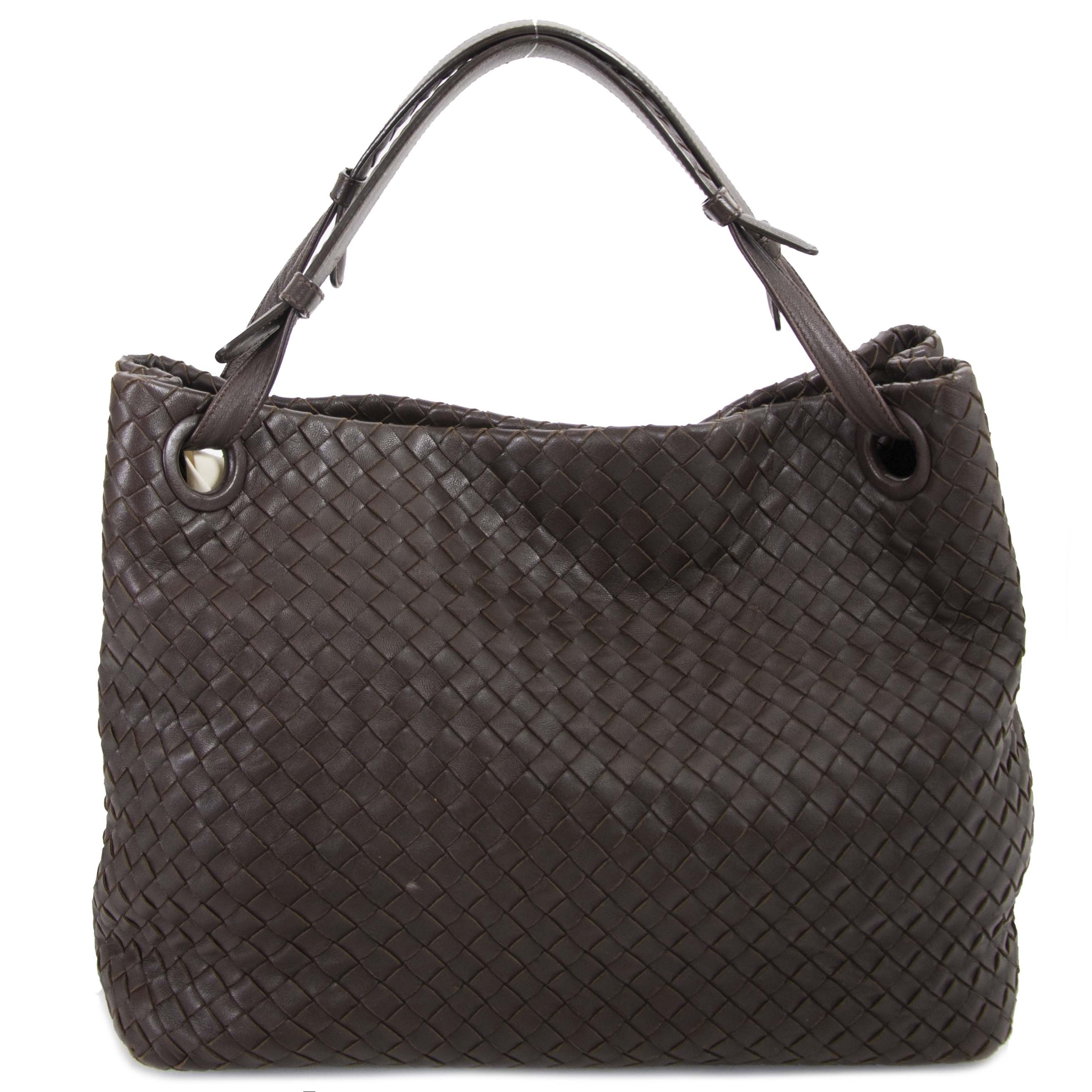 Authentic second hand Bottega Veneta Dark Brown Garda Shoulder Bag shop online at webshop LabelLOV