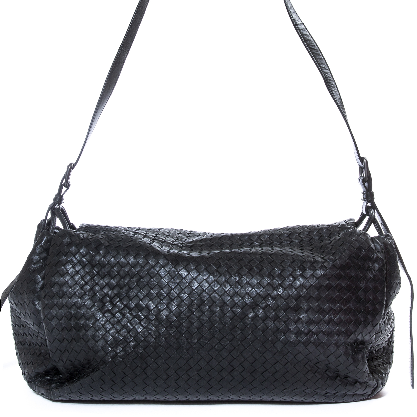 Buy and sell your authentic Bottega Veneta Black Intrecciato Nappa Leather Flap Shoulder Bag