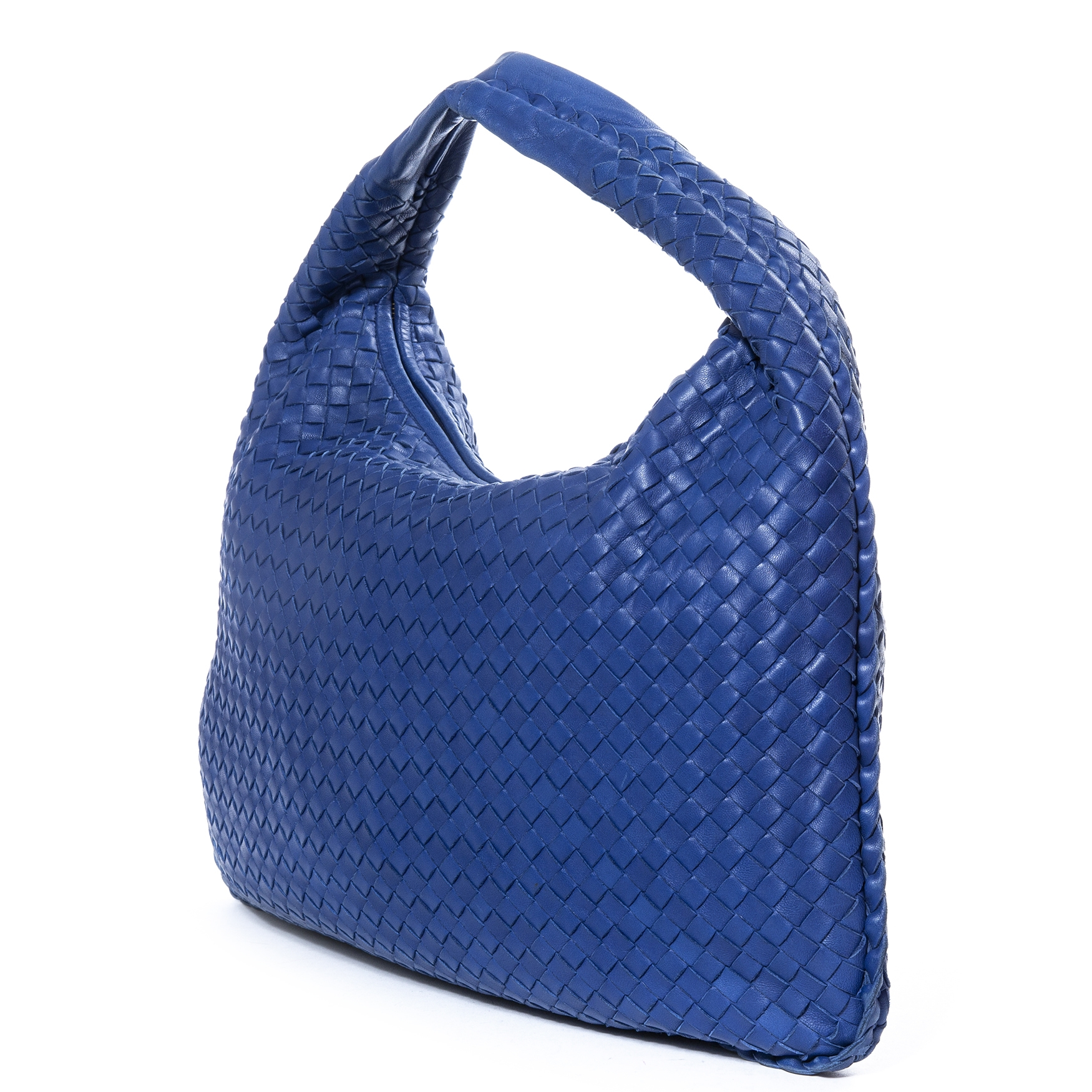 Bottega Veneta Intrecciato Blue Large Nappa Hobo Bag te koop
