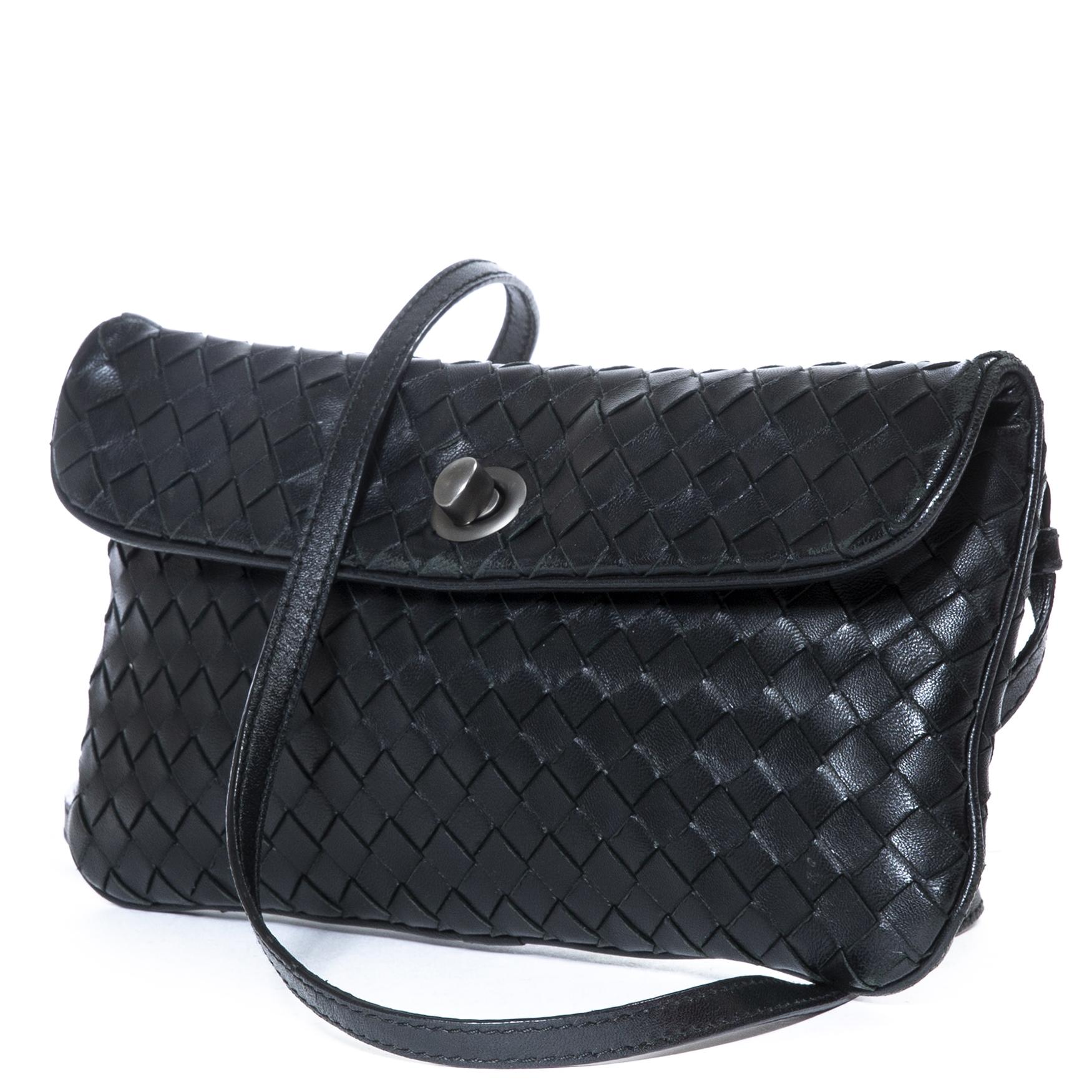 ... Labellov Bottega Veneta Small Black Intrecciato Shoulder Bag for sale 82d8526b0b735