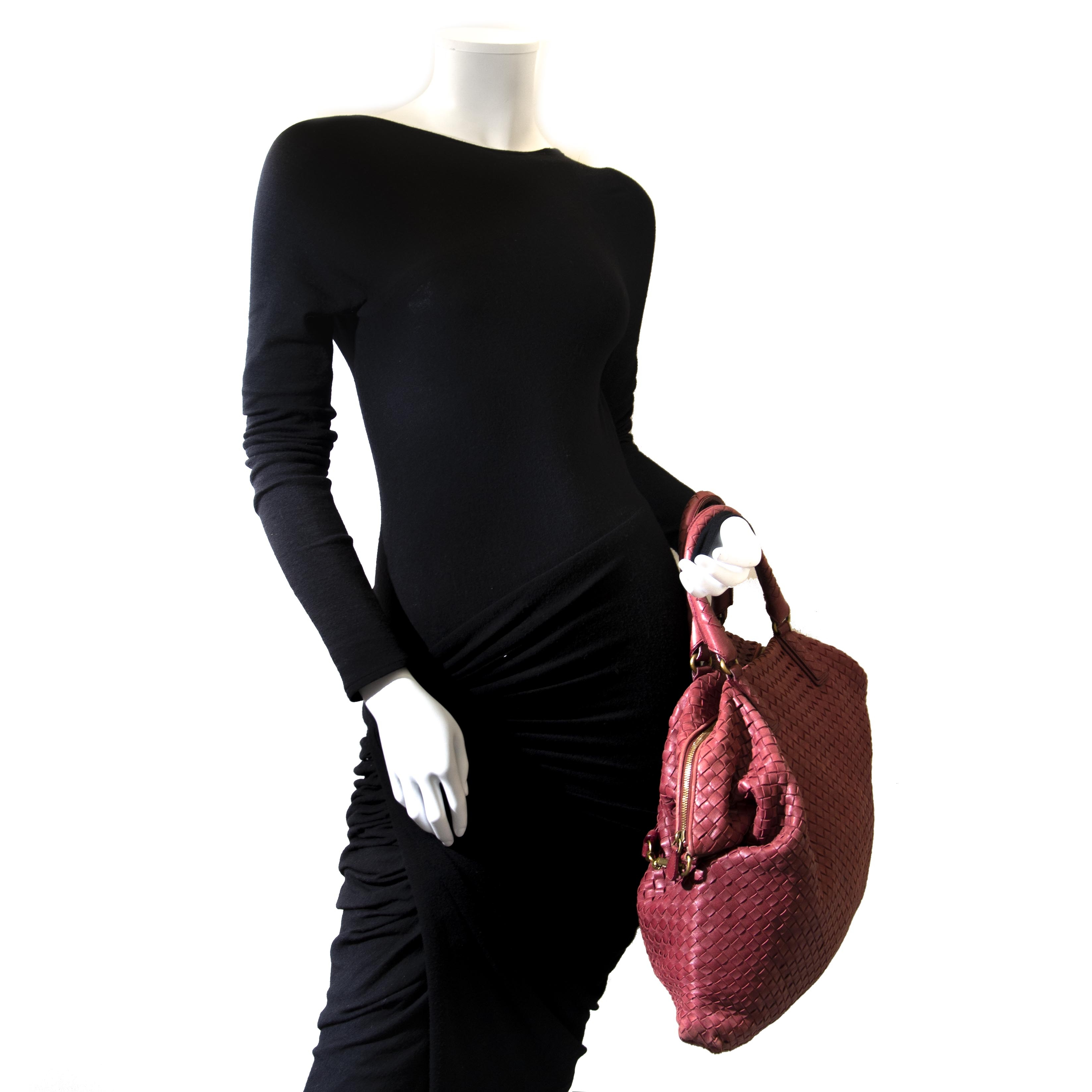 Vintage Bottega Venetta Red Terracotta Leather Tote at Labellov.