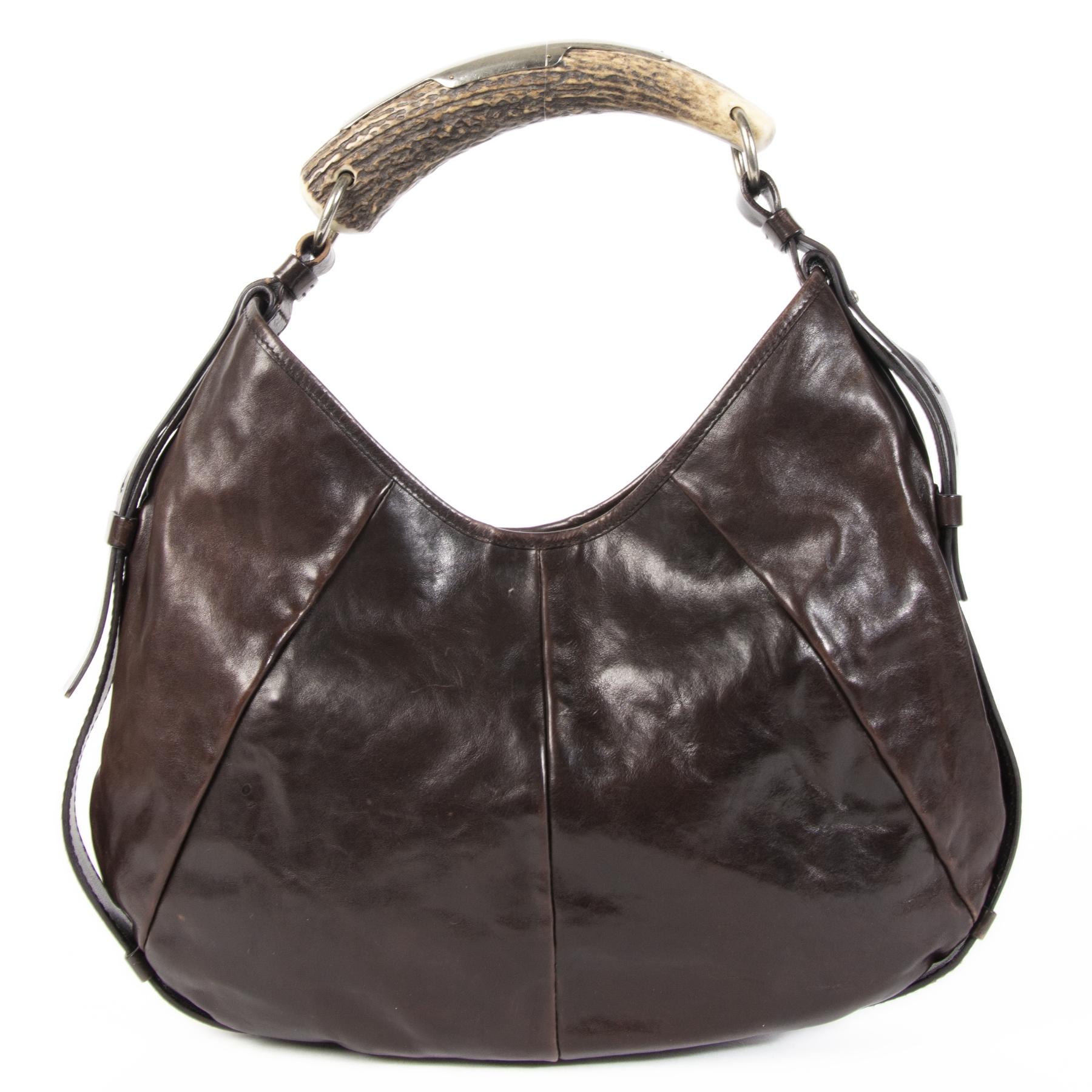Authentieke Tweedehands Yves Saint Laurent Dark Brown Leather Mombasa Hobo Bag juiste prijs veilig online shoppen luxe merken webshop winkelen Antwerpen België mode fashion