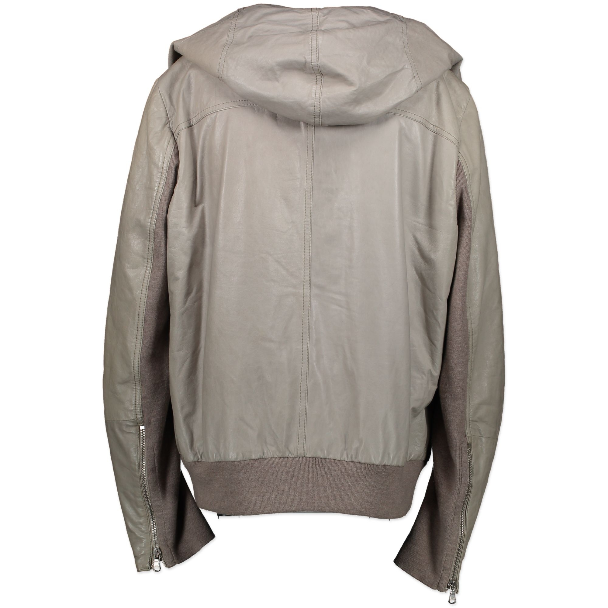 Brunello Cucinelli Grey Leather Jacket - Size IT48