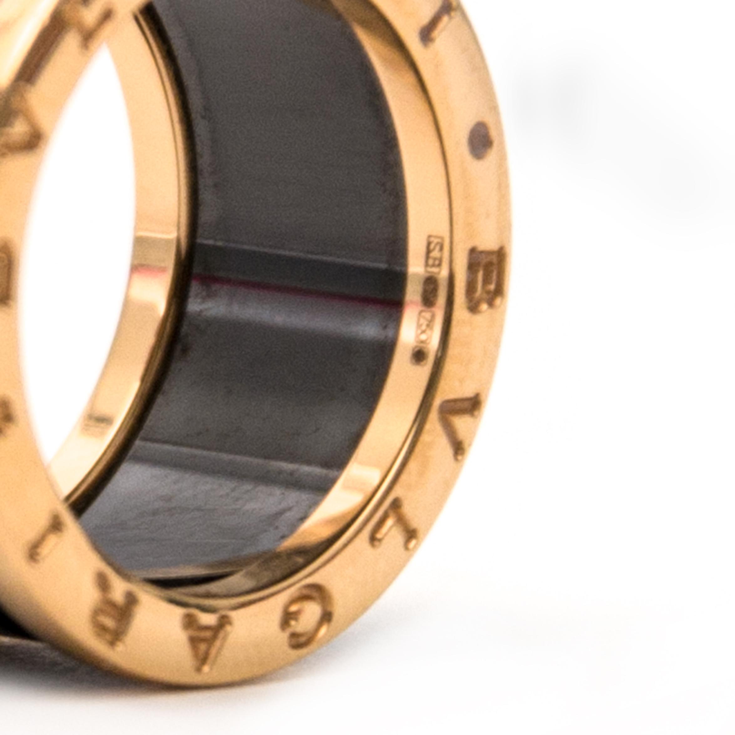 koop veilig online aan de beste prijs Bvlgari B.zero1 4-band Ring Black Ceramic and 18k