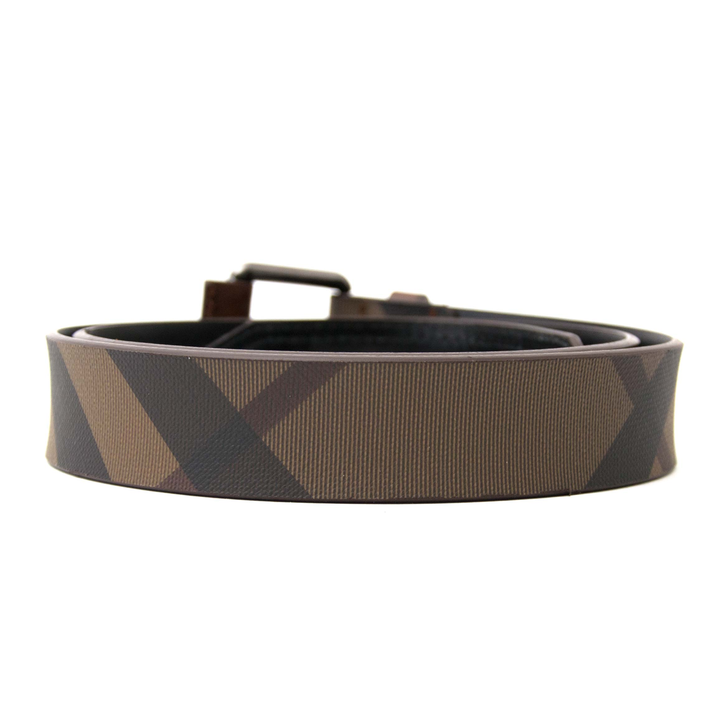 Burberry 'Lovit' Brown Smoked Check Belt for sale in Antwerp, www.labellov.com, 100% authentic.