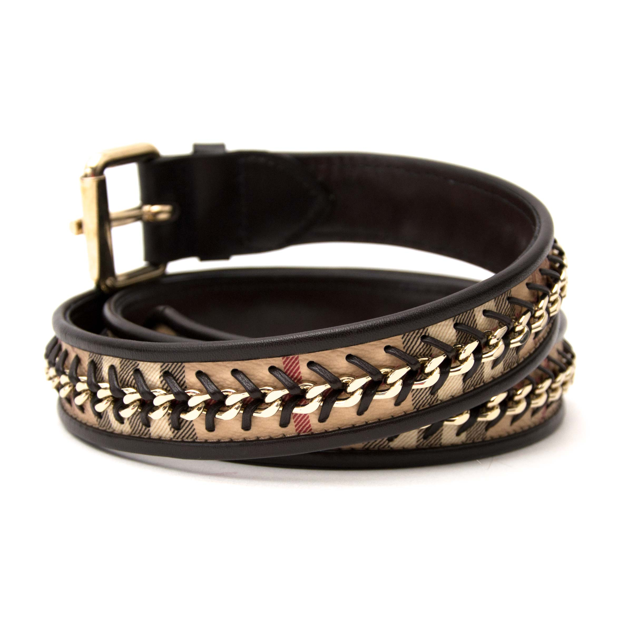 Koop en verkoop uw authentieke Burberry Check Black Leather Belt