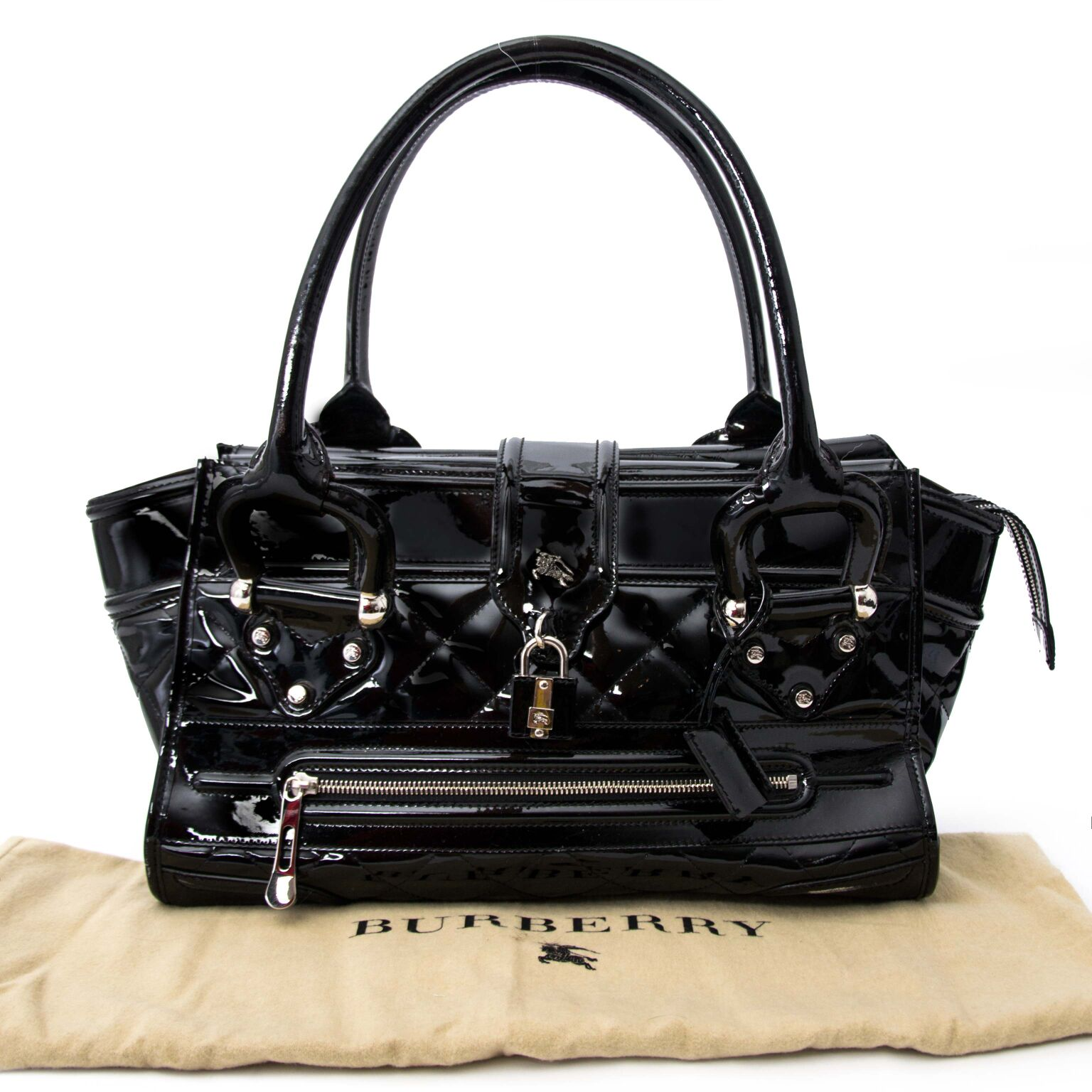 Beautiful unique black patent leather bag from Burberry