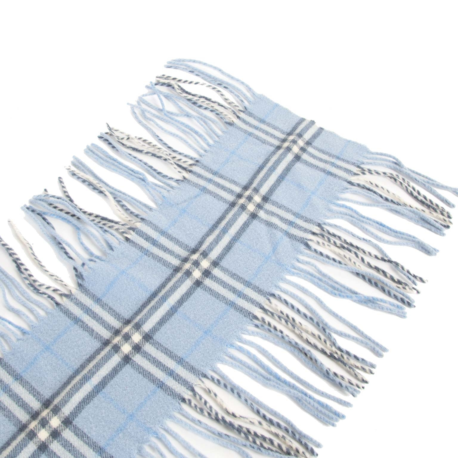 we buy and sell your authentic Burberry Baby Blue Fringe Scarf for the best price