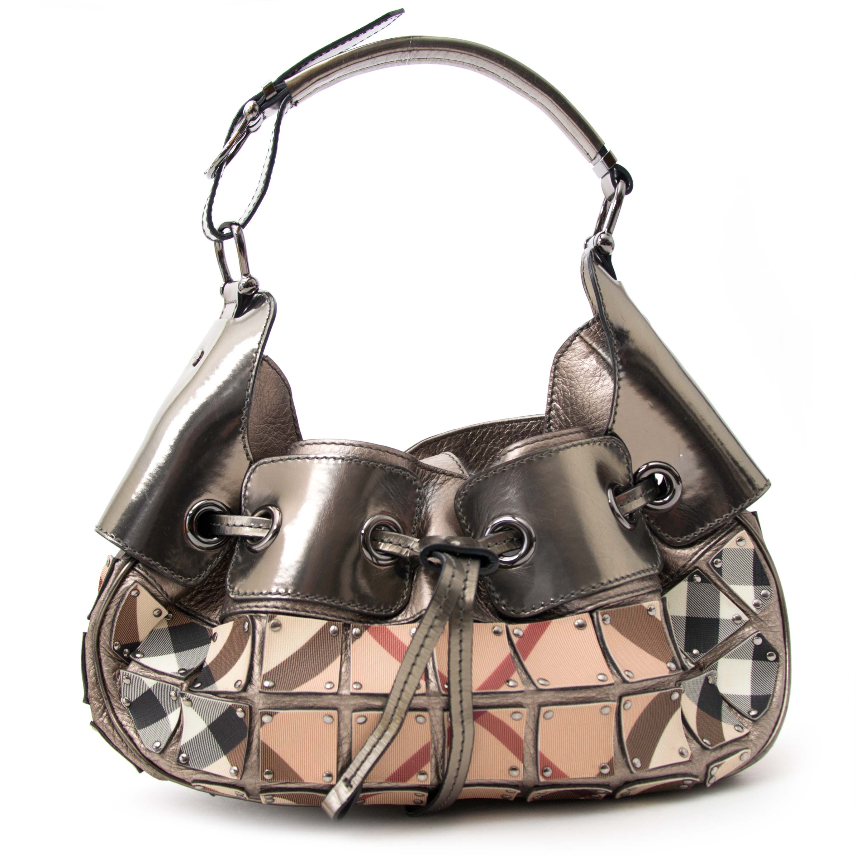 Are you looking for a Burberry Metallic and Plaid Bag