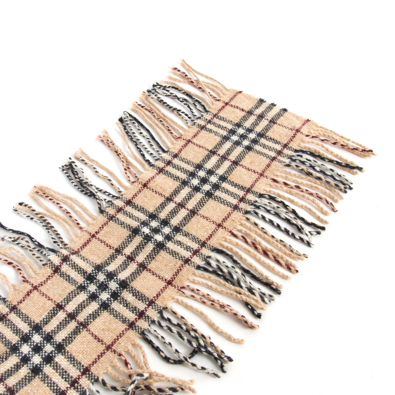 Burberry Beige Check Wool Scarf now for sale at labellov vintage fashion webshop belgium