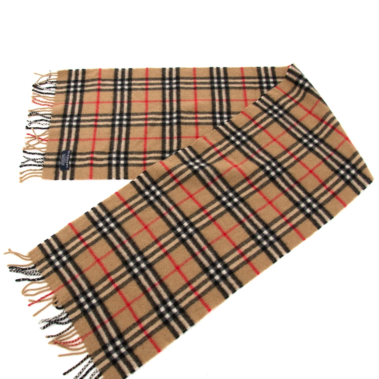 68724d4b25b ... second hand Burberry Camel Check Cashmere Scarf now for sale at  labellov antwerp for the best
