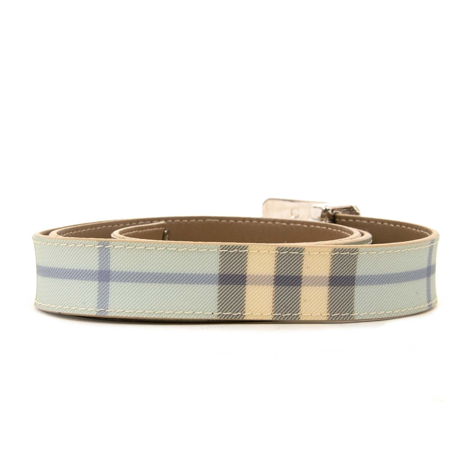 burberry light blue belt now for sale at labellov vintage fashion webshop belgium