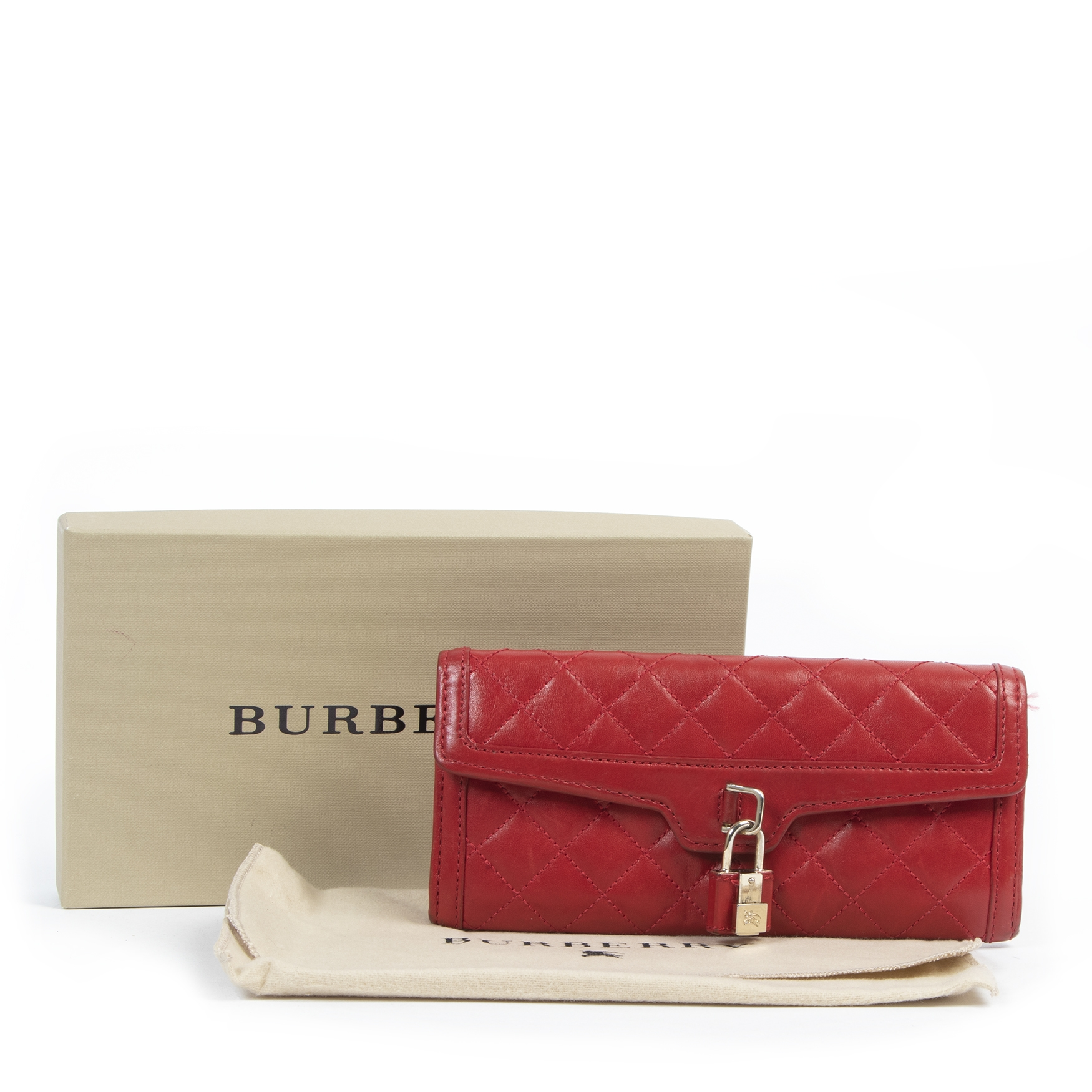 Burberry Red Quilted Wallet