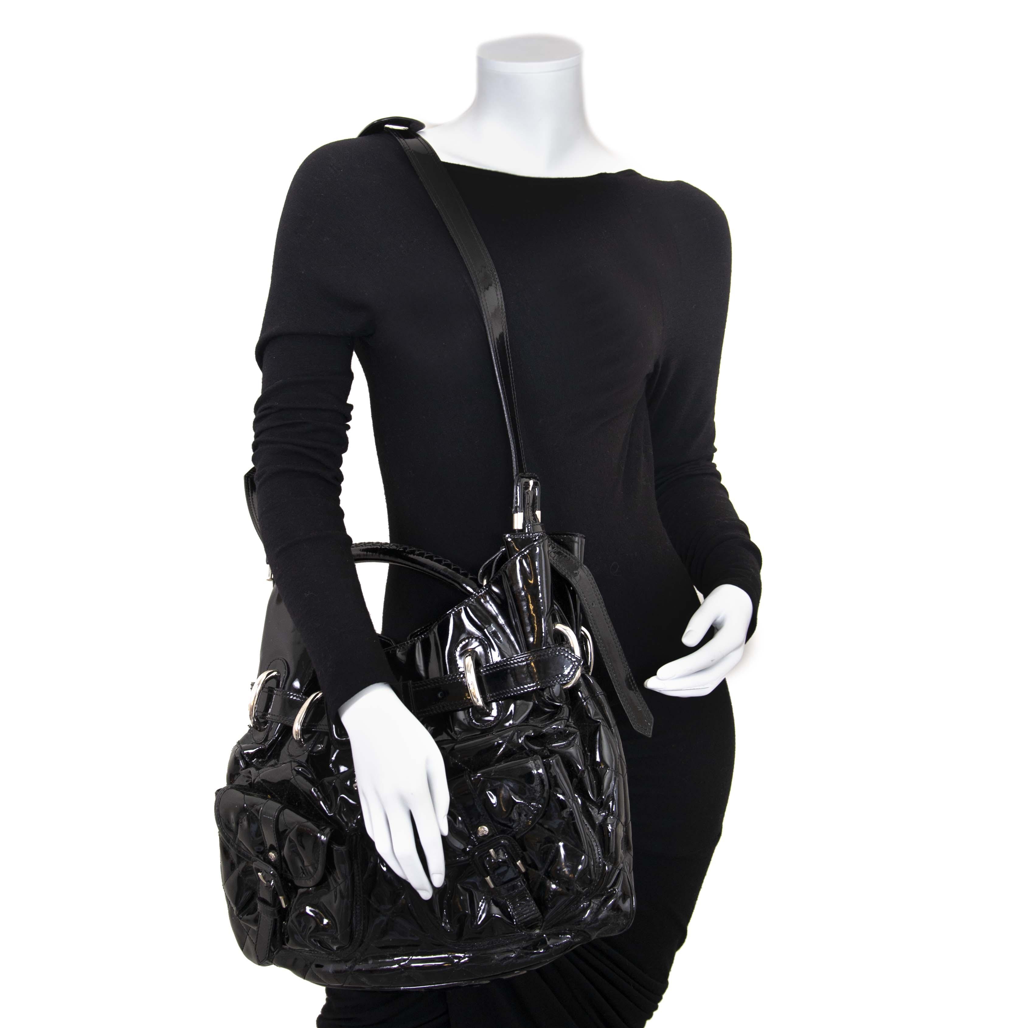 Burberry Black Patent Hobo Bag
