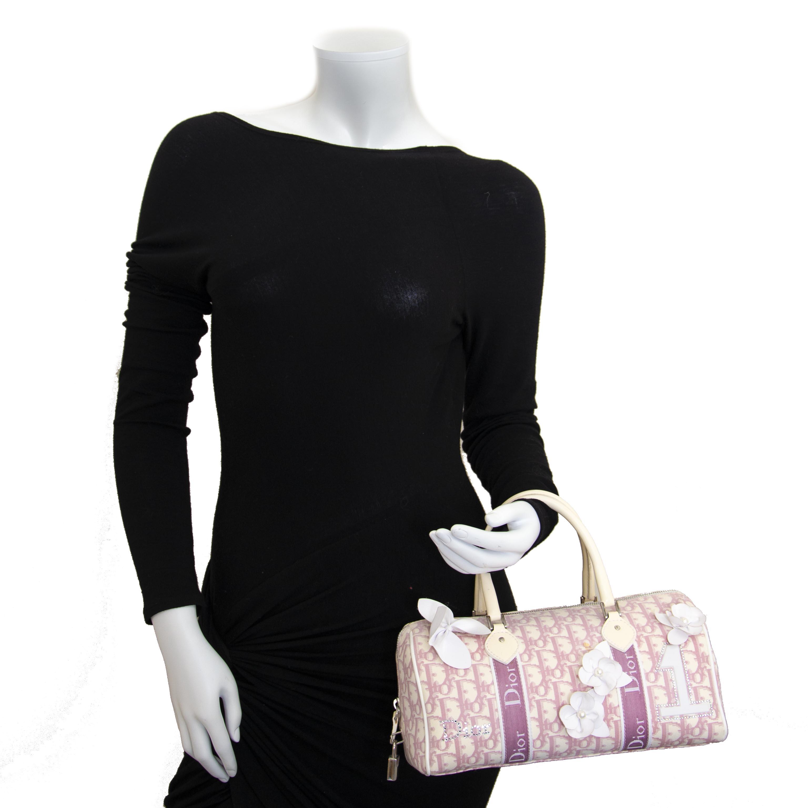 Dior Pink Monogram Flowers Boston Bag now for sale at labellov vintage fashion webshop belgium