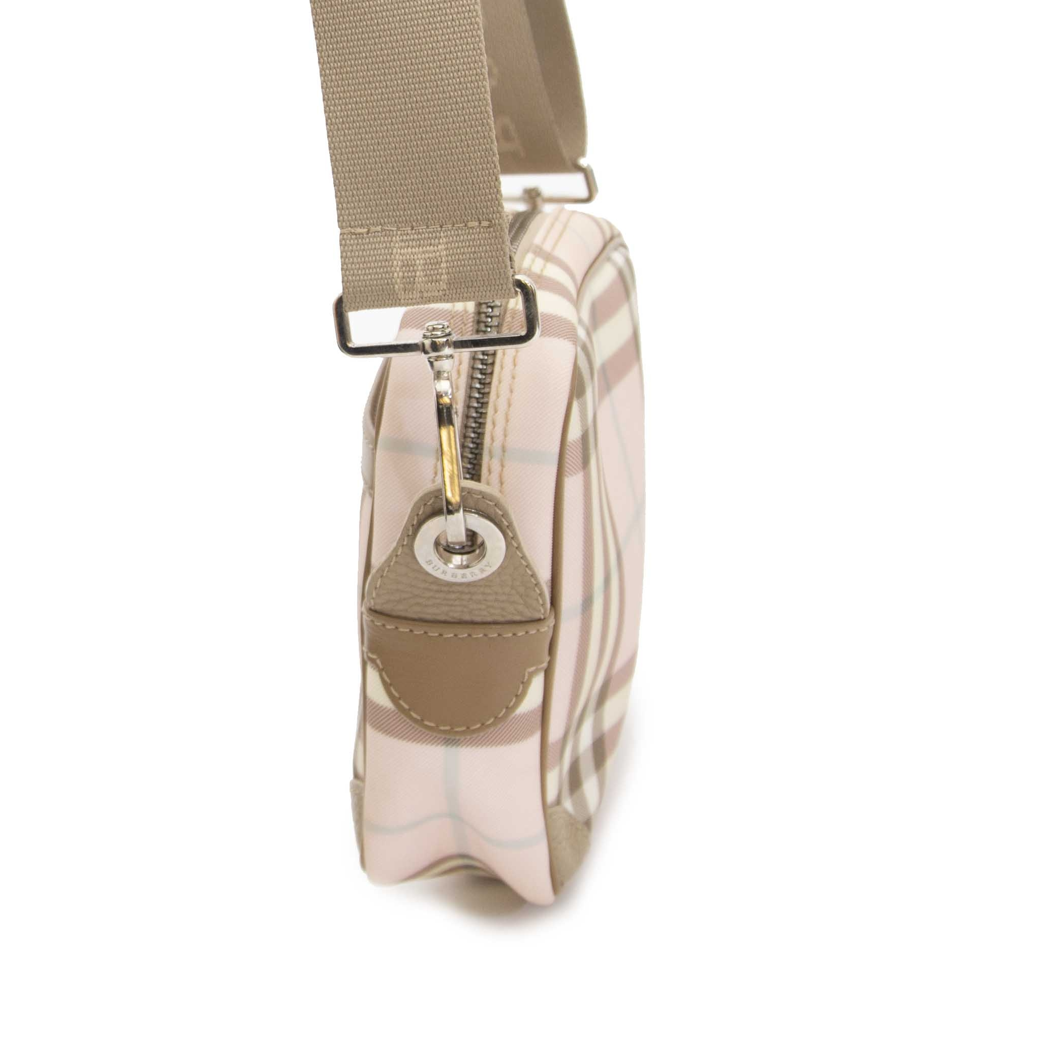 acheter en ligne seconde main Burberry Mini Pink Check Crossbody Bag