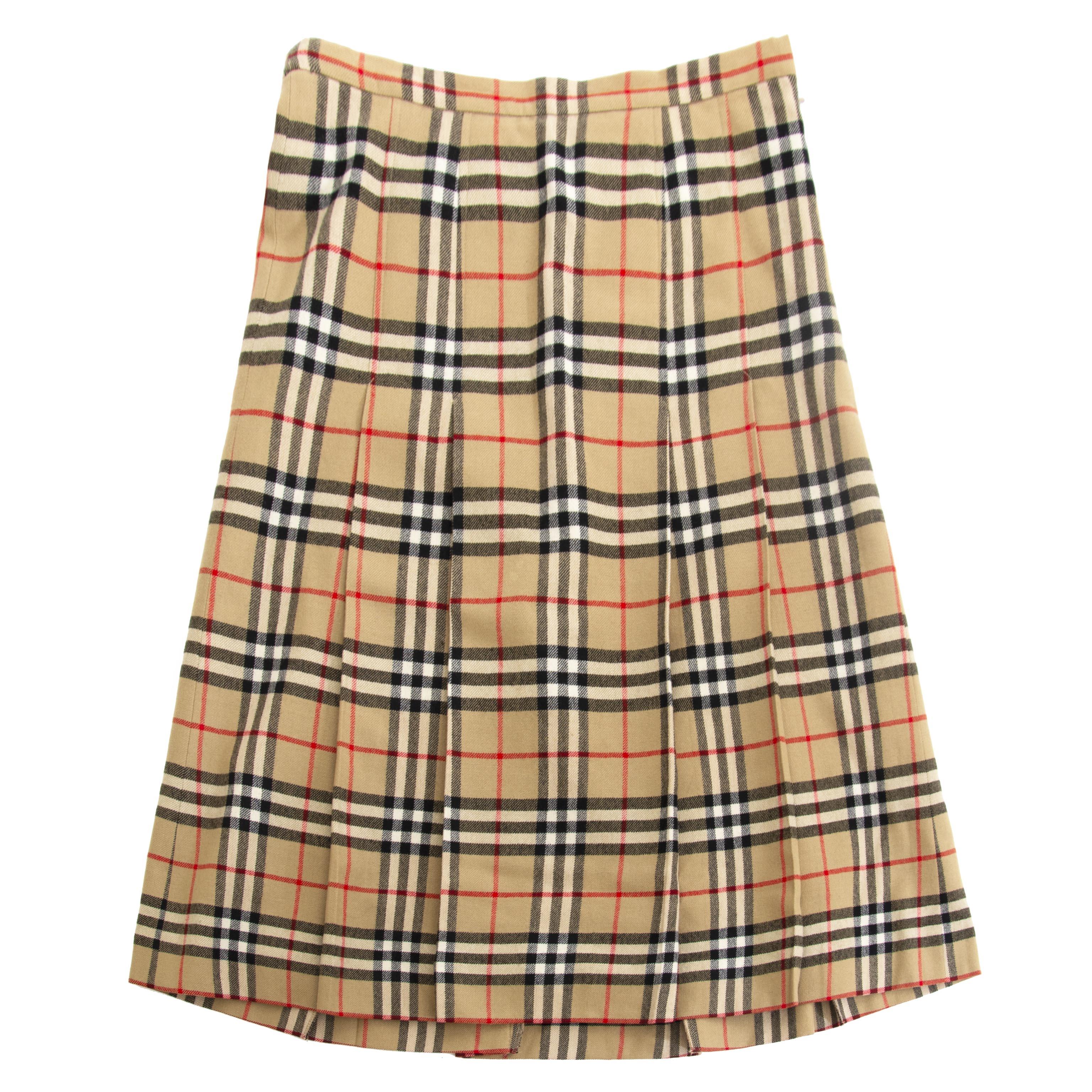 koop online jou Burberry Check Wool Skirt