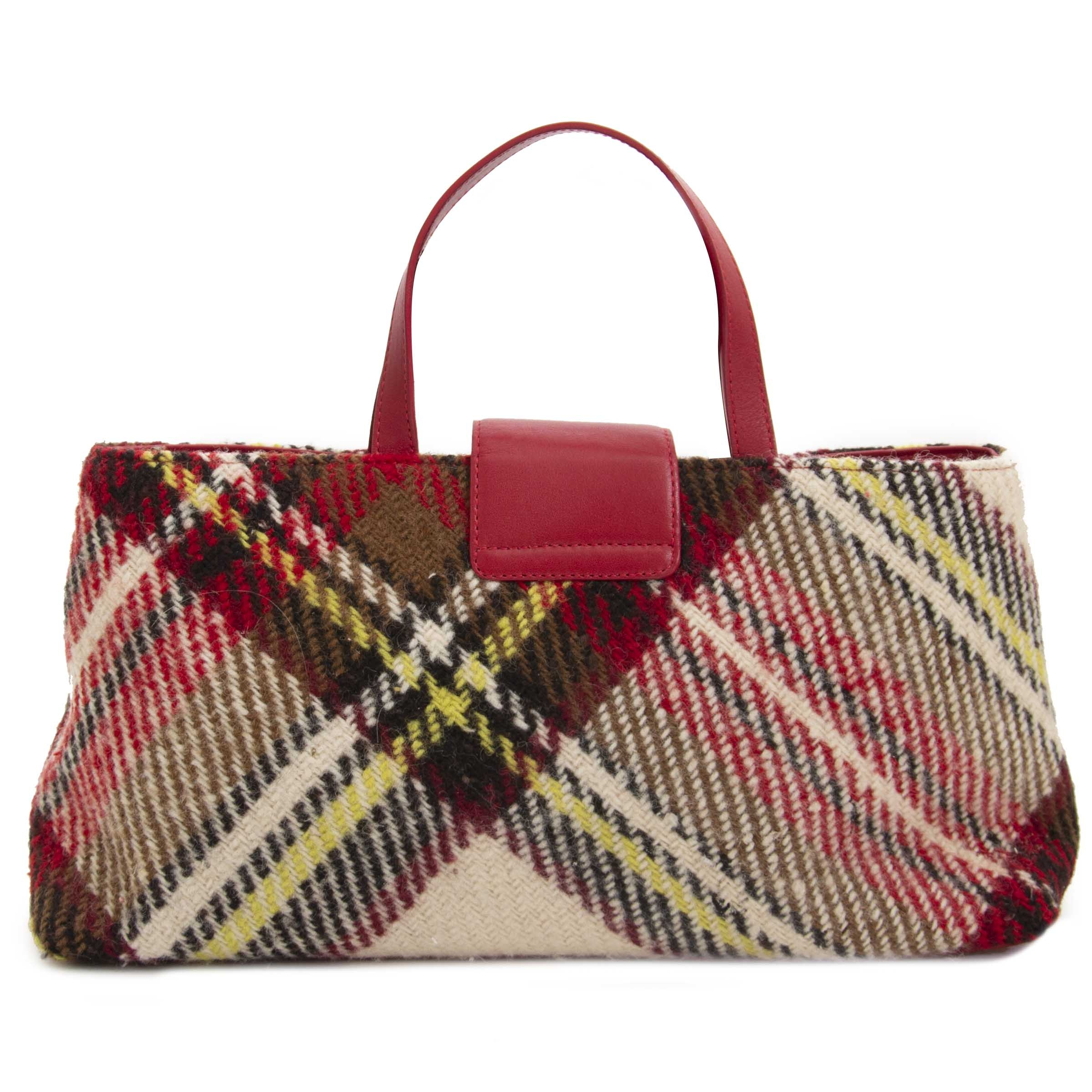 acheter en linge seconde main Burberry Check Wool Top Handle Bag