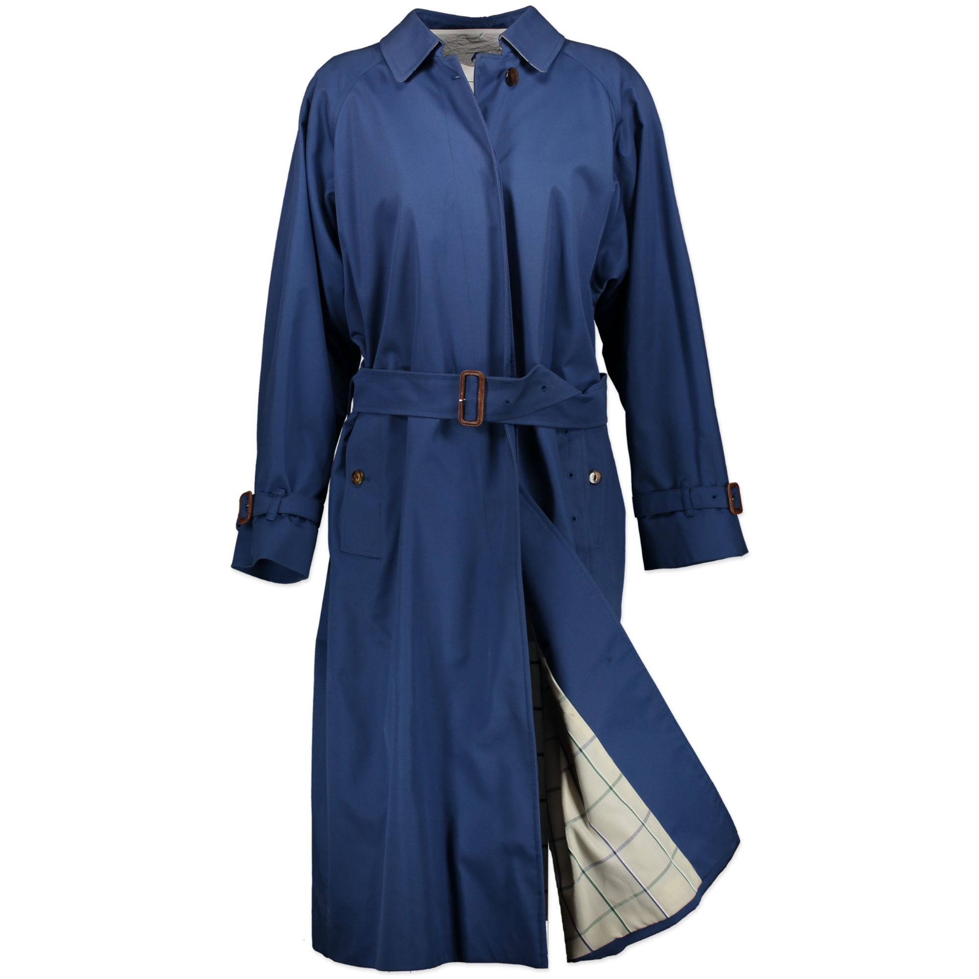 Burberry Blue Long Trench Coat - Size M at Labellov. Safe online shopping at the best price designer vintage