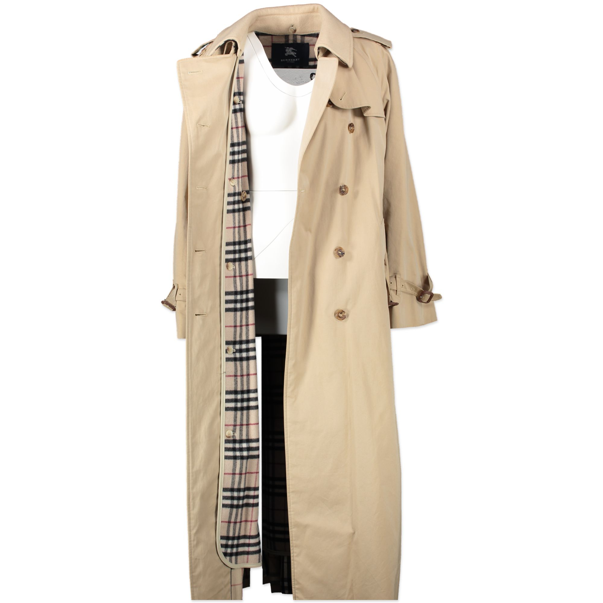 Burberry Long Wool & Nylon Trench Coat for the best price at Labellov secondhand luxury