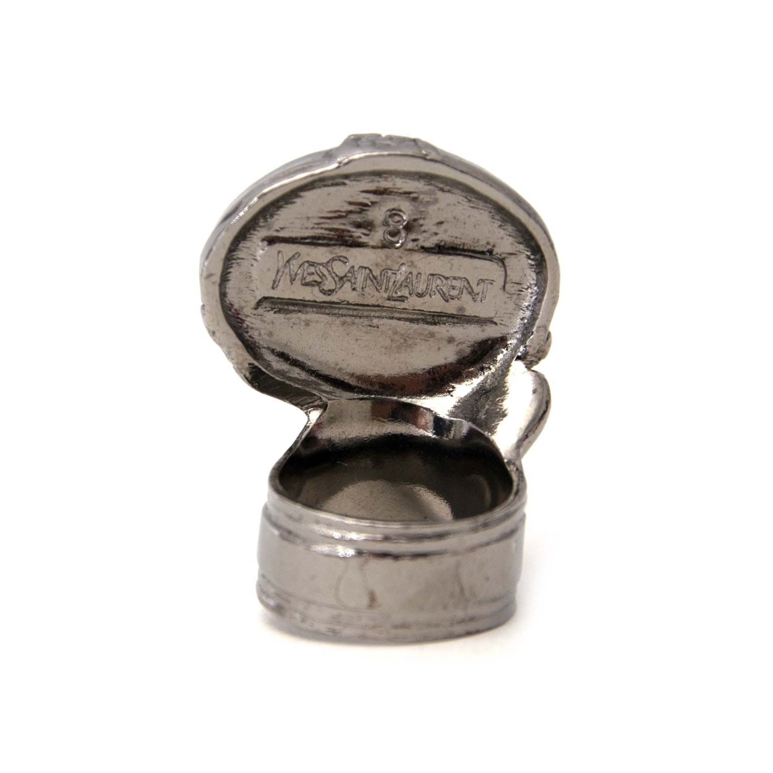 buy YSL arty oval silver ring bij labellov
