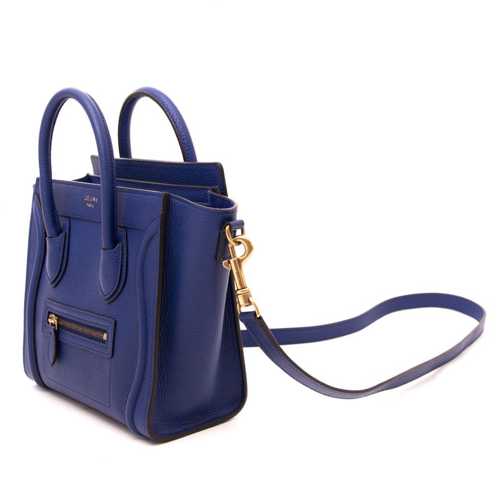 worldwide shipping 100% authentic designer Céline Nano Cobalt Blue Luggage Bag