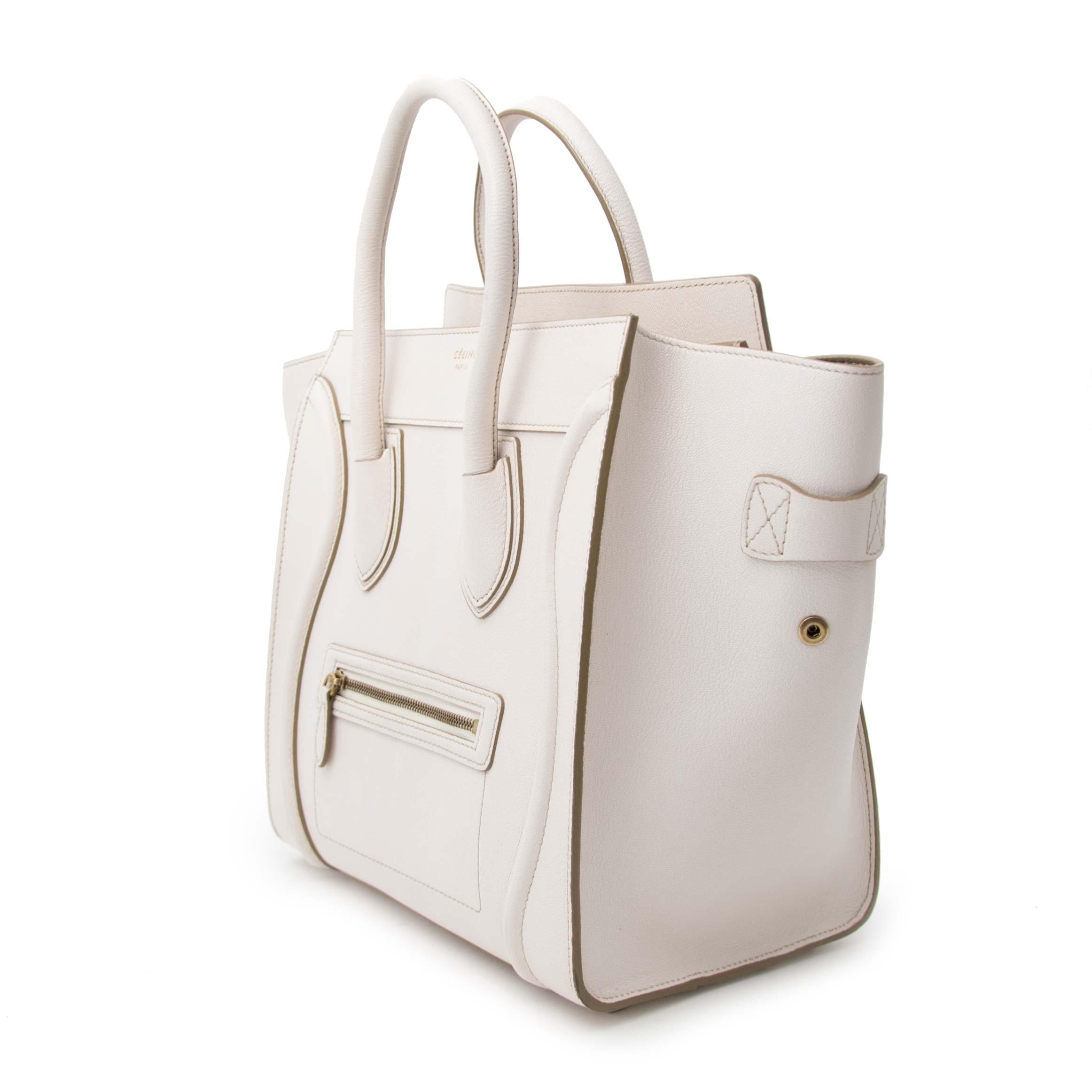 acheter pour le meilleur prix sac a main Celine Luggage Mini White