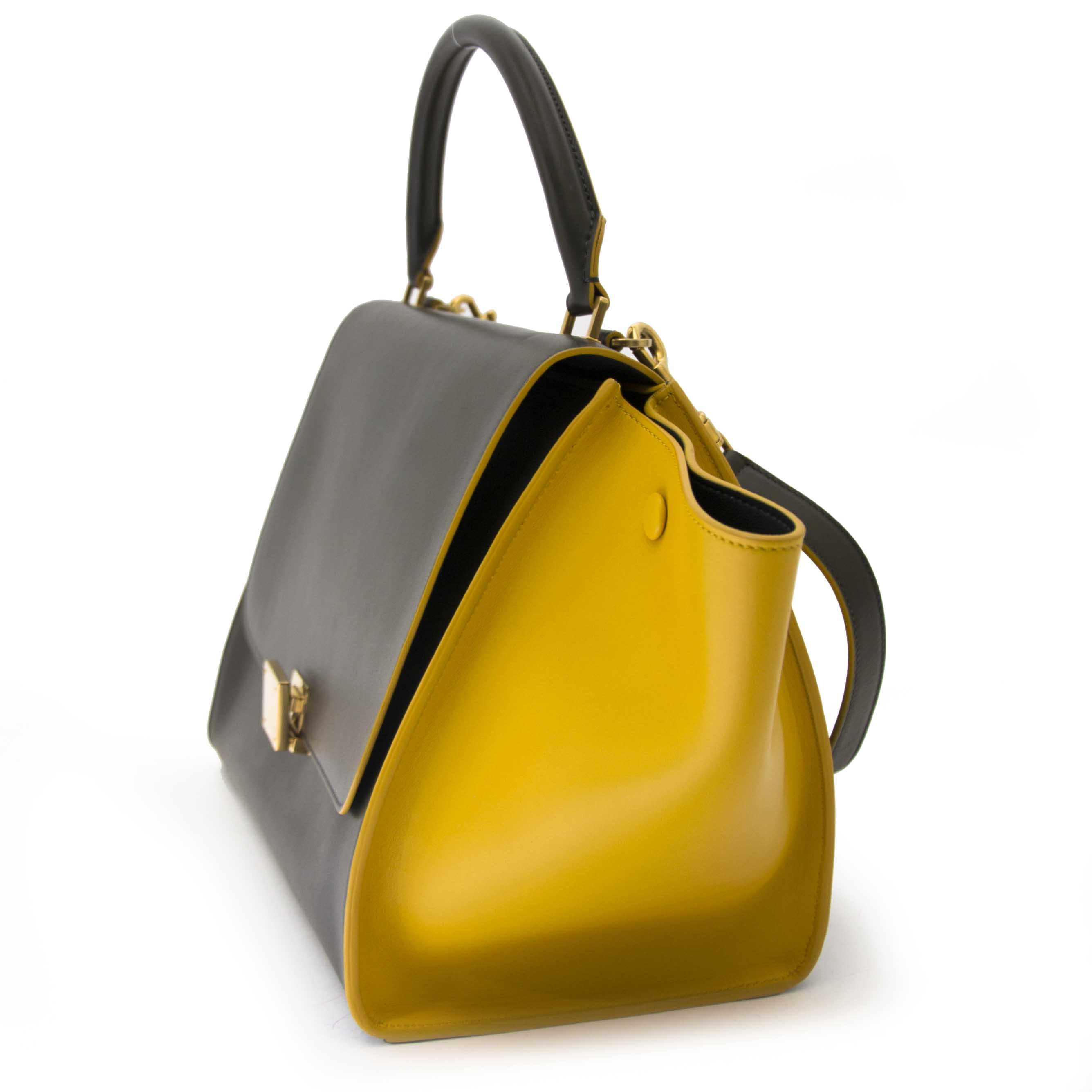 koop veilig online Céline Trapeze Kaki And Mustard Calfskin
