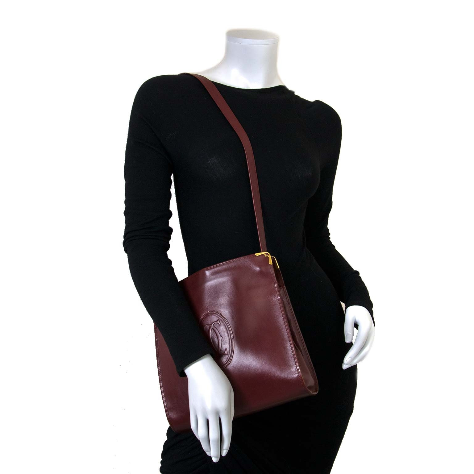 Cartier Burgundy Shoulder Bag now for sale at labellov vintage fashion webshop belgium