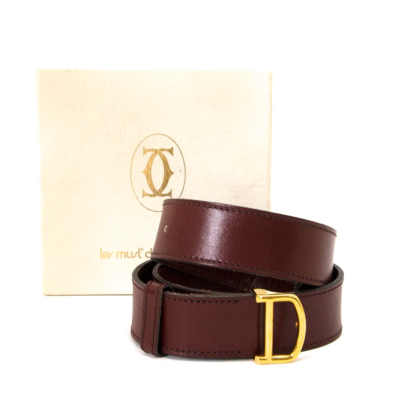 Cartier Bordeaux Leather Belt - Size 66-74 now for sale at labellov vintage fashion webshop belgium