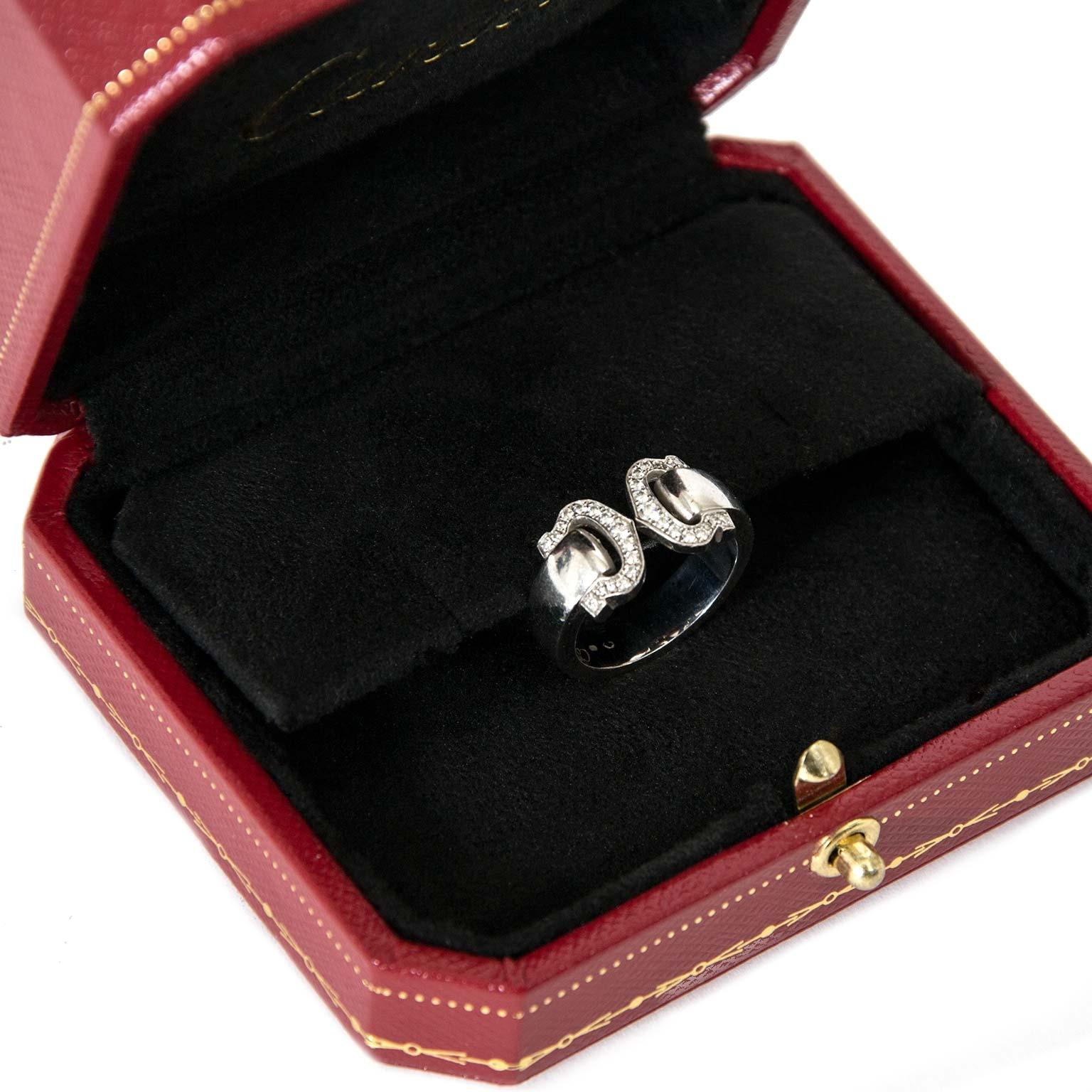 achetez  Cartier 18k White gold Double C Diamond Ring - Size 51 chez labellov pour le meilleur prix