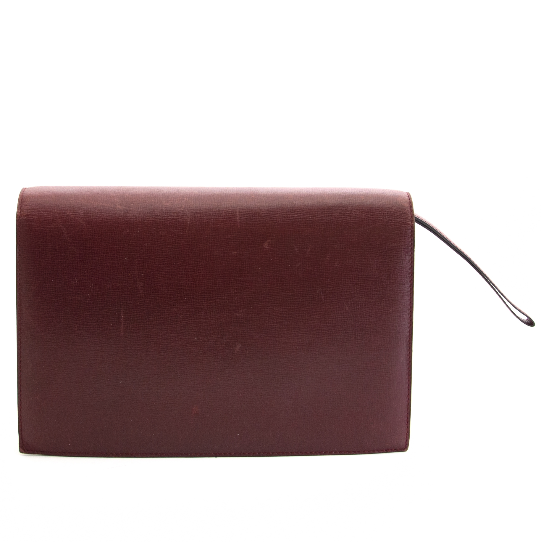 Authentieke tweedehands vintage Cartier Burgundy Clutch Bag koop online webshop LabelLOV